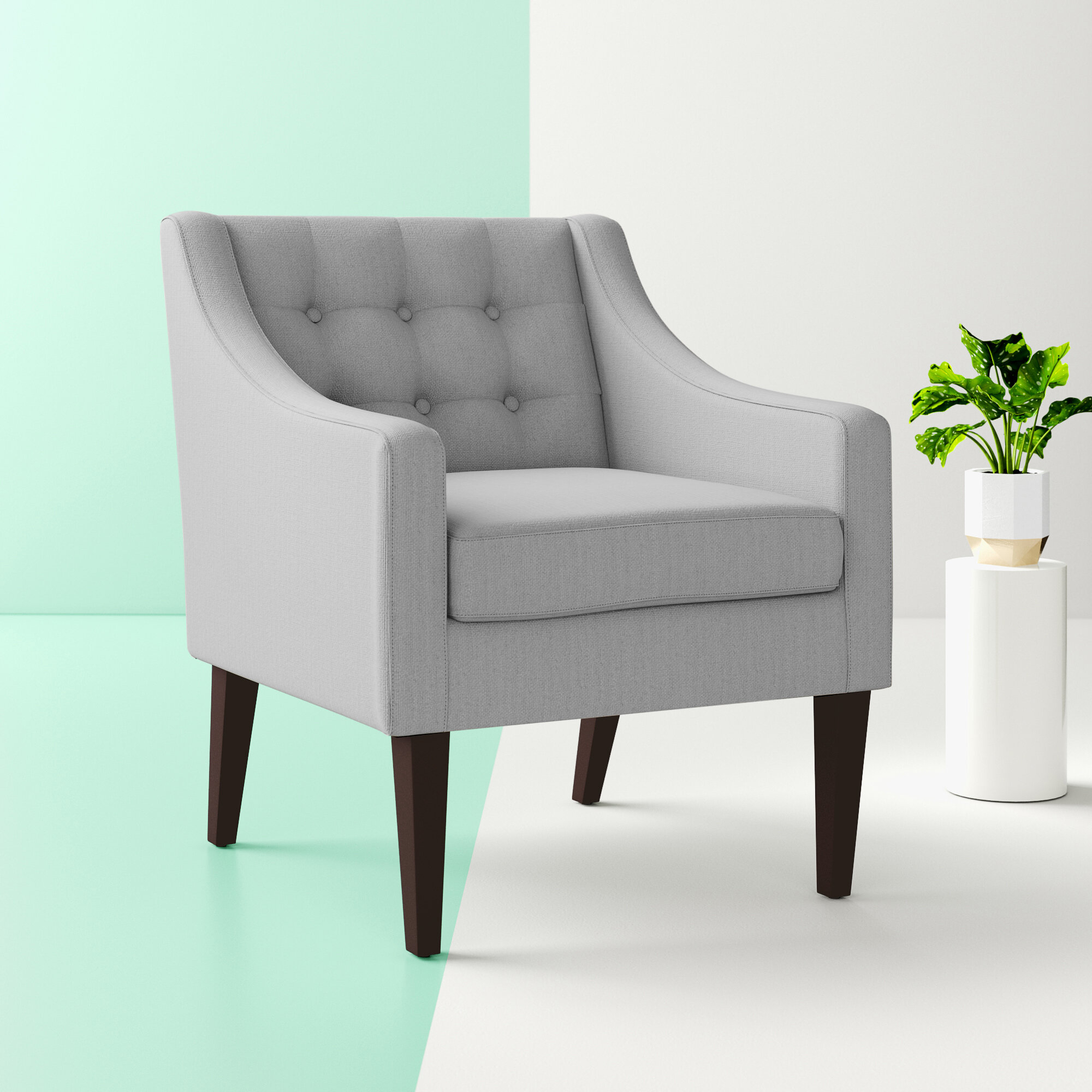 Dark Gray Track Arm Accent Chairs You'Ll Love In 2021 | Wayfair Inside Bethine Polyester Armchairs (Set Of 2) (View 5 of 15)