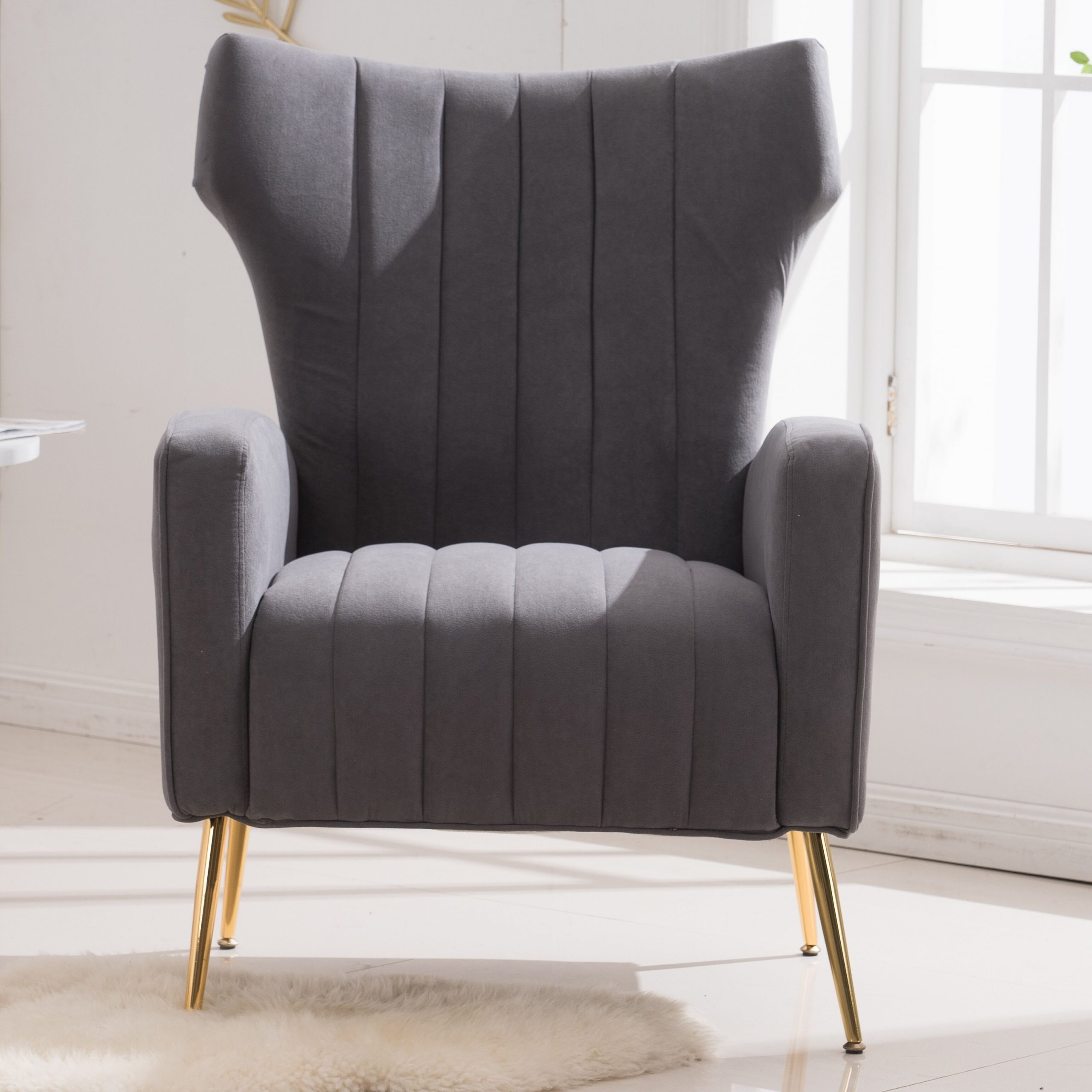 Dark Gray Track Arm Accent Chairs You'Ll Love In 2021 | Wayfair With Lauretta Velvet Wingback Chairs (View 15 of 15)