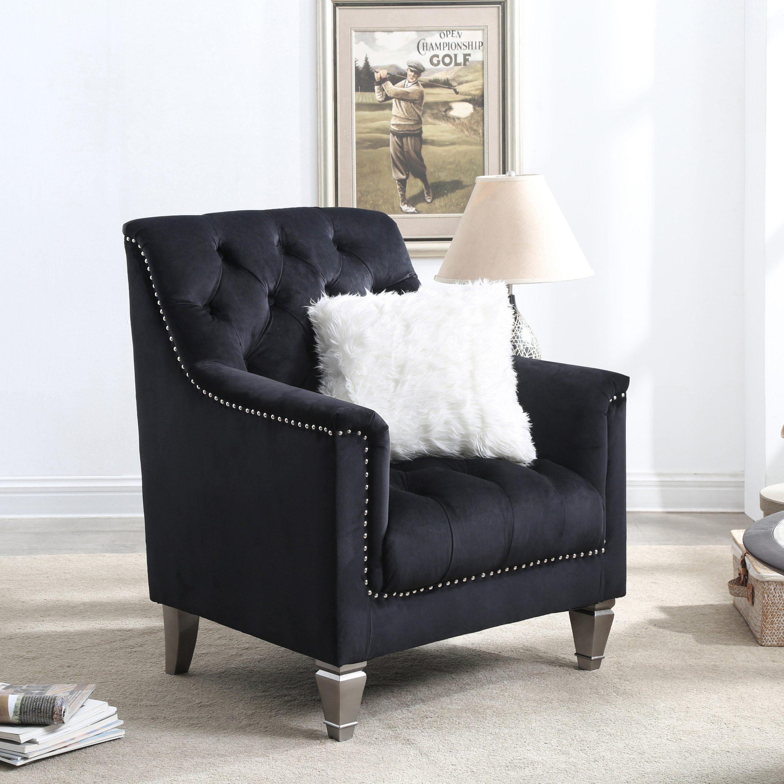 "Davina 31"" W Tufted Velvet Armchair With Regard To Didonato Tufted Velvet Armchairs (View 7 of 15)"