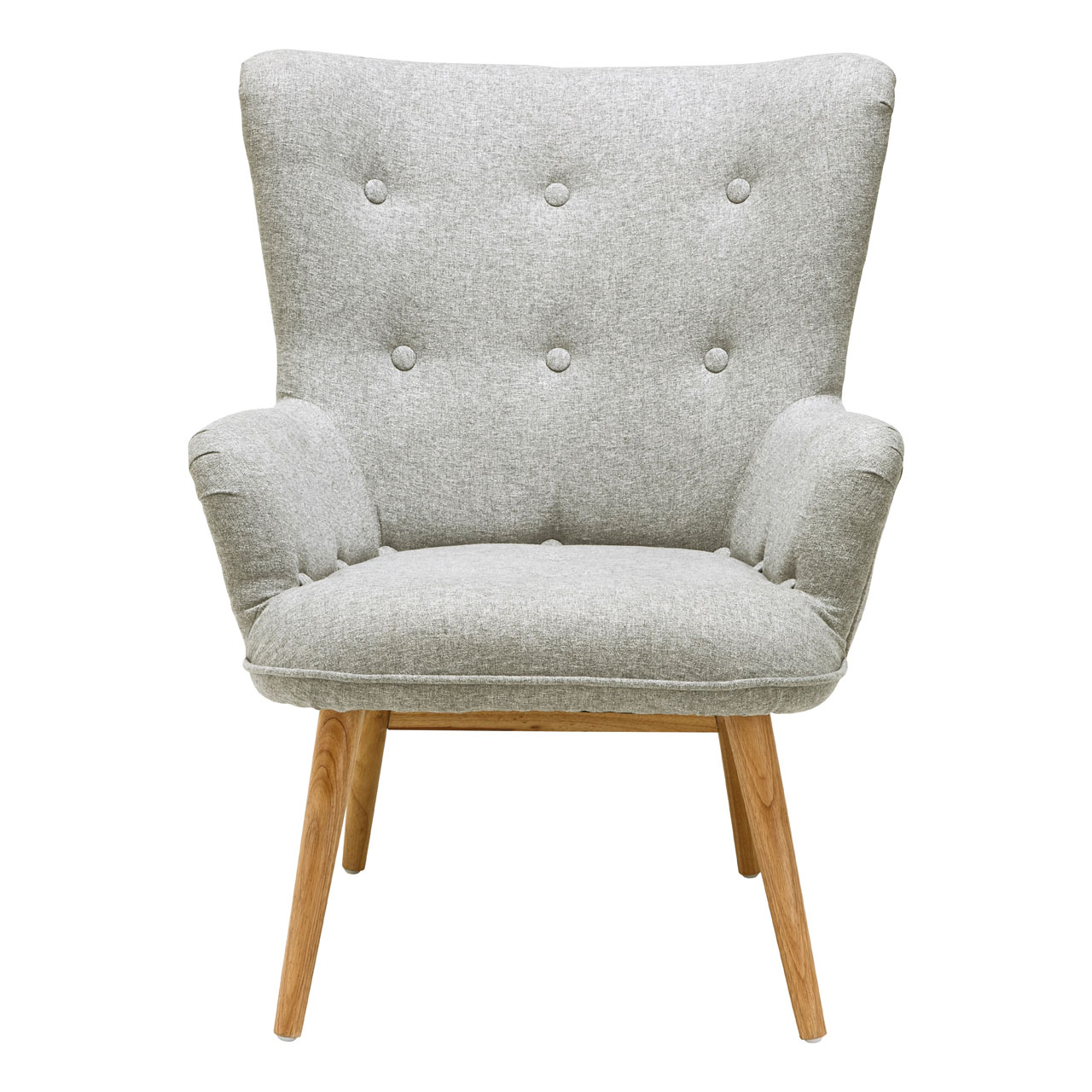 Details About Bergen Armchair Grey Polyester Natural Wood Legs Sofa Lounge  Chair Furniture In Leia Polyester Armchairs (View 14 of 15)