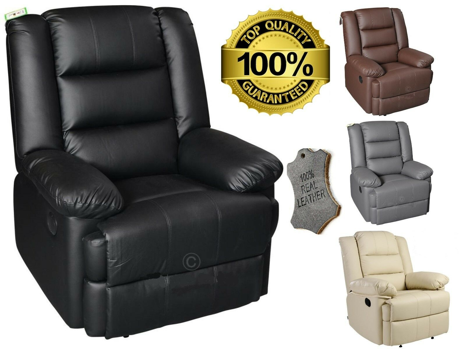Details About Capri Luxury Bonded Leather Electric Recliner Chair Leather  Armchair Furniture Within Montenegro Faux Leather Club Chairs (View 11 of 15)