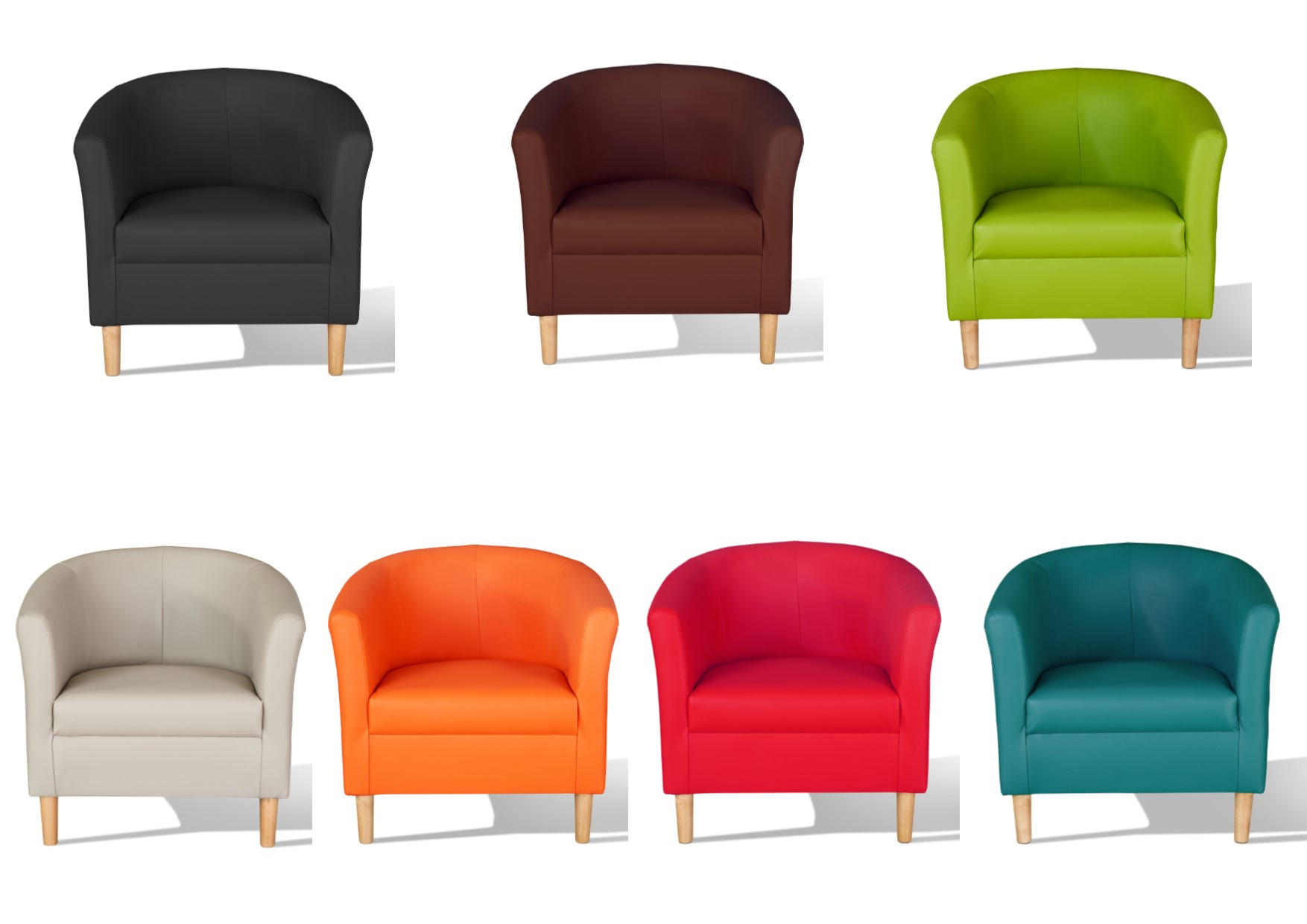 Details About Hamony Faux Leather Tub Chairs – Black, Mocha, Chestnut, Red, Teal, Green Pertaining To Faux Leather Barrel Chairs (View 9 of 15)