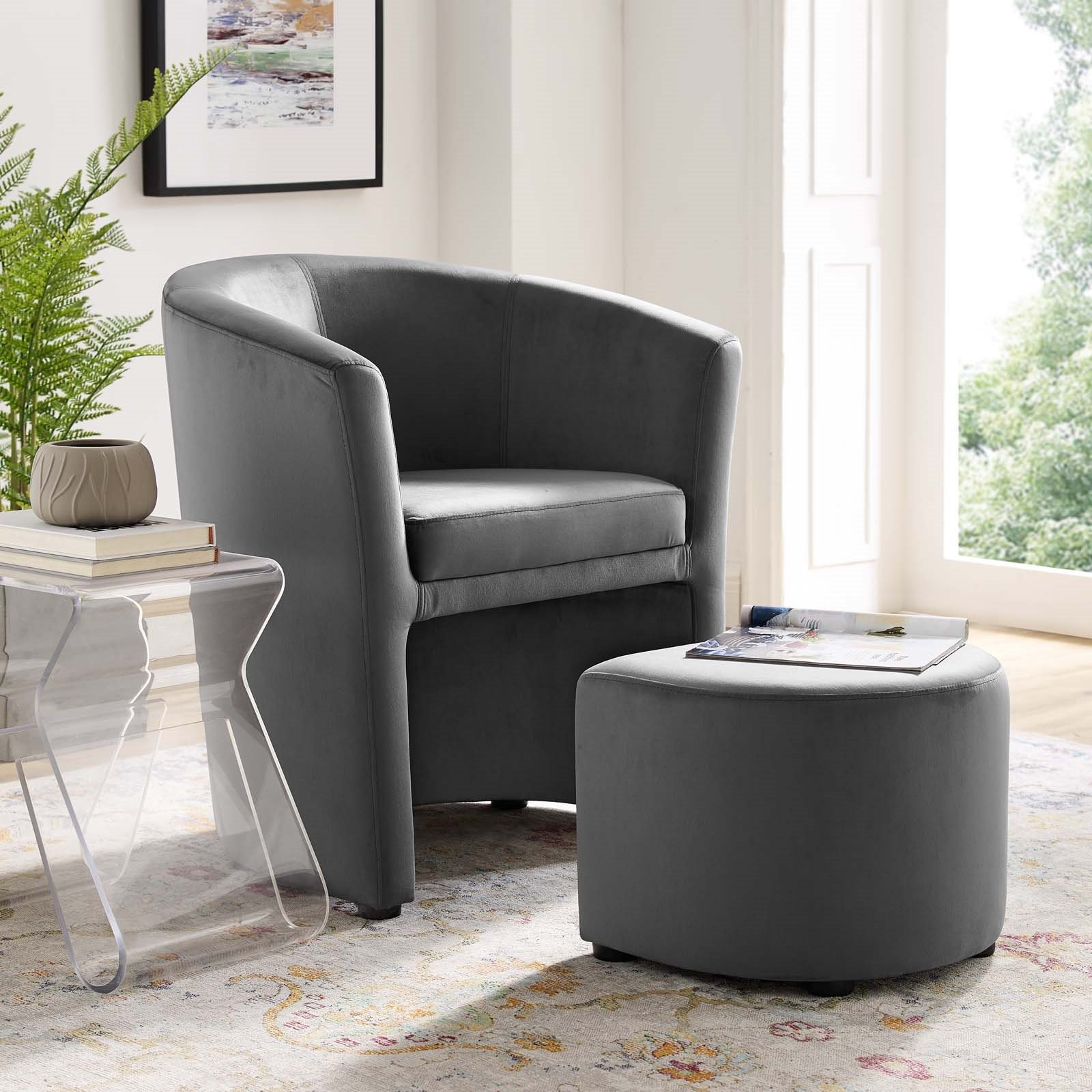 Divulge Performance Velvet Arm Chair And Ottoman Set Throughout Modern Armchairs And Ottoman (View 7 of 15)