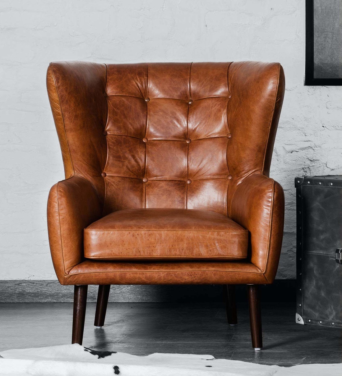 Dorchester Wing Chair In Vintage Brown Colour Pertaining To Dorcaster Barrel Chairs (View 5 of 15)