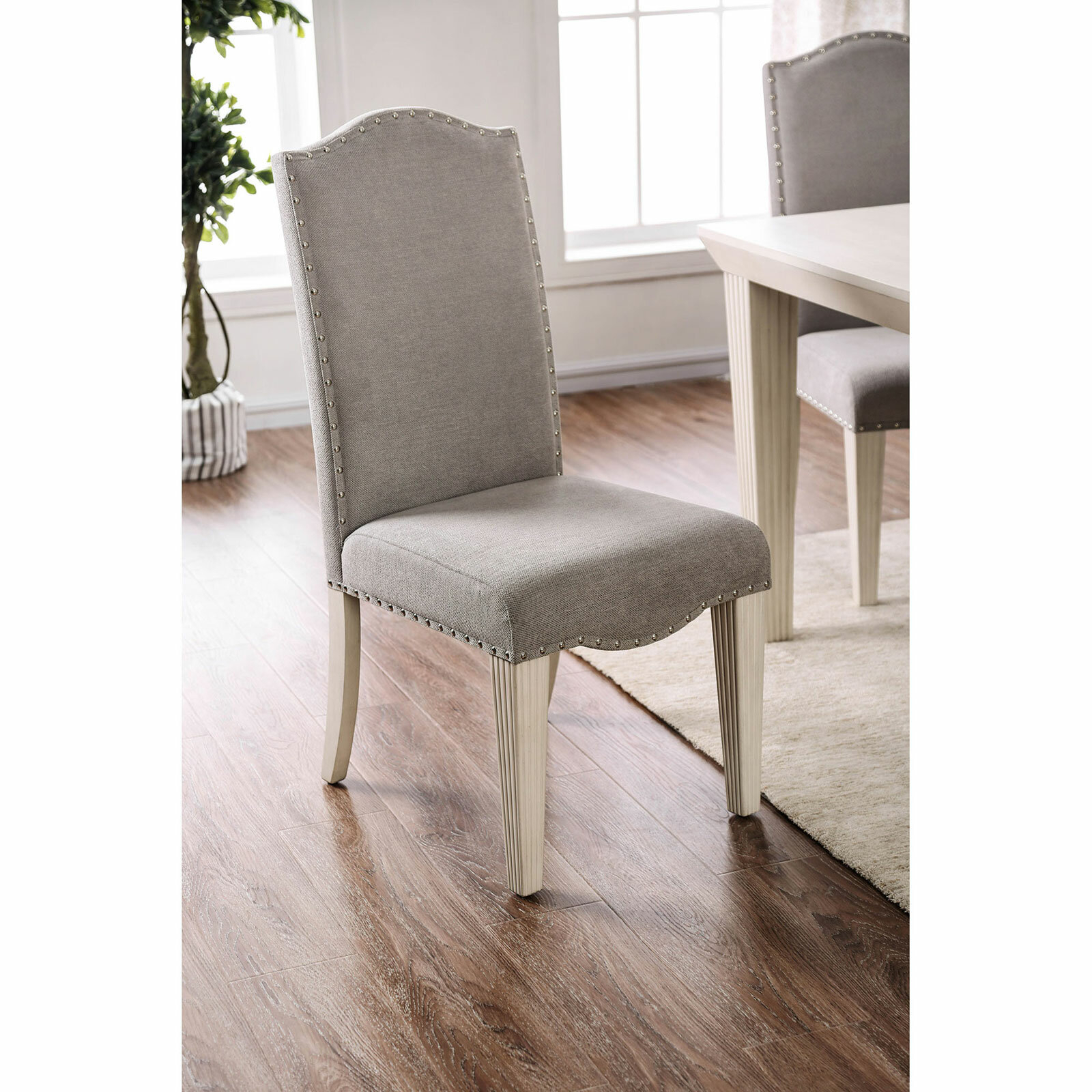 Dunphy Upholstered Dining Chair In Gray/Antique White Inside Bob Stripe Upholstered Dining Chairs (Set Of 2) (View 9 of 15)