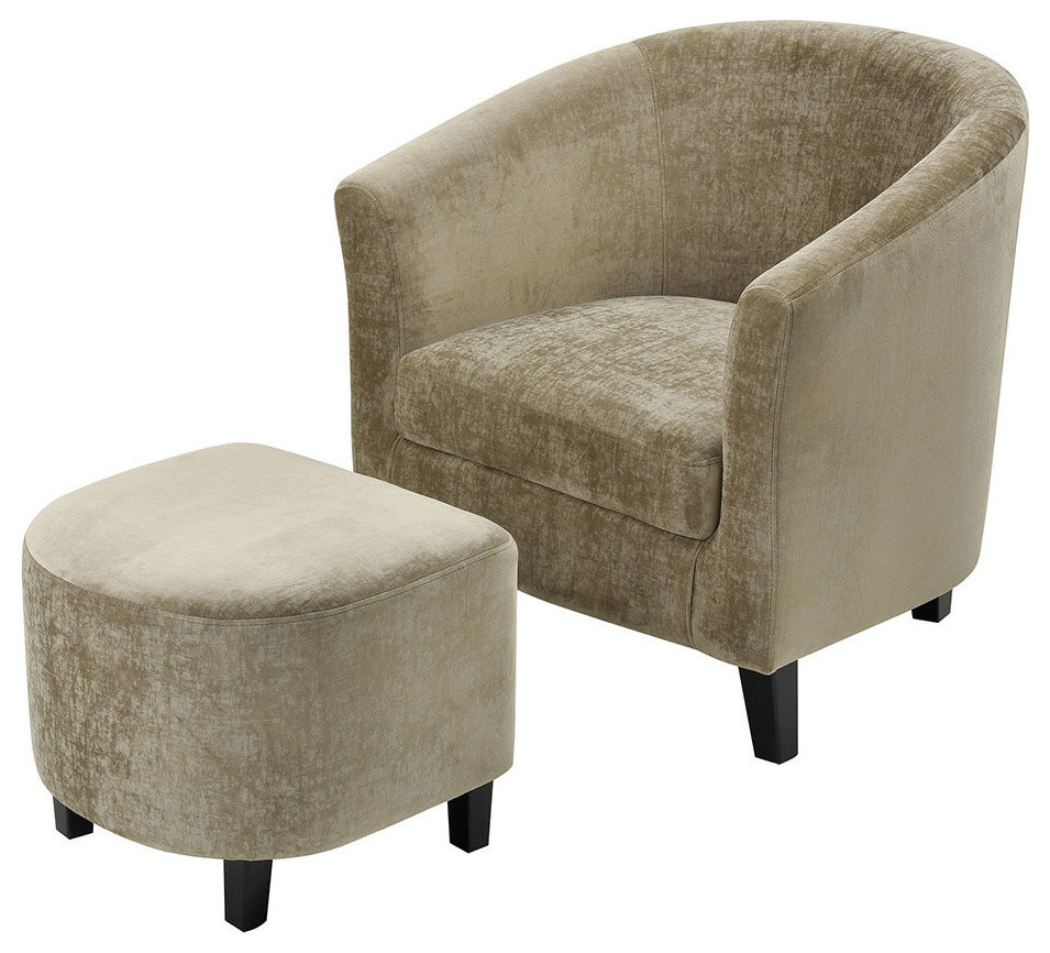 Elana Barrel Chair And Ottoman Set With Regard To Faux Leather Barrel Chair And Ottoman Sets (View 10 of 15)
