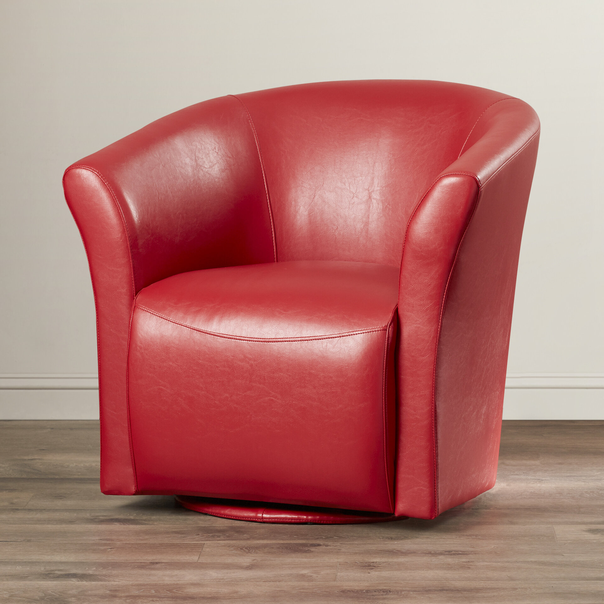 """Elisha 29"""" W Faux Leather Swivel Barrel Chair Throughout Navin Barrel Chairs (View 10 of 15)"""