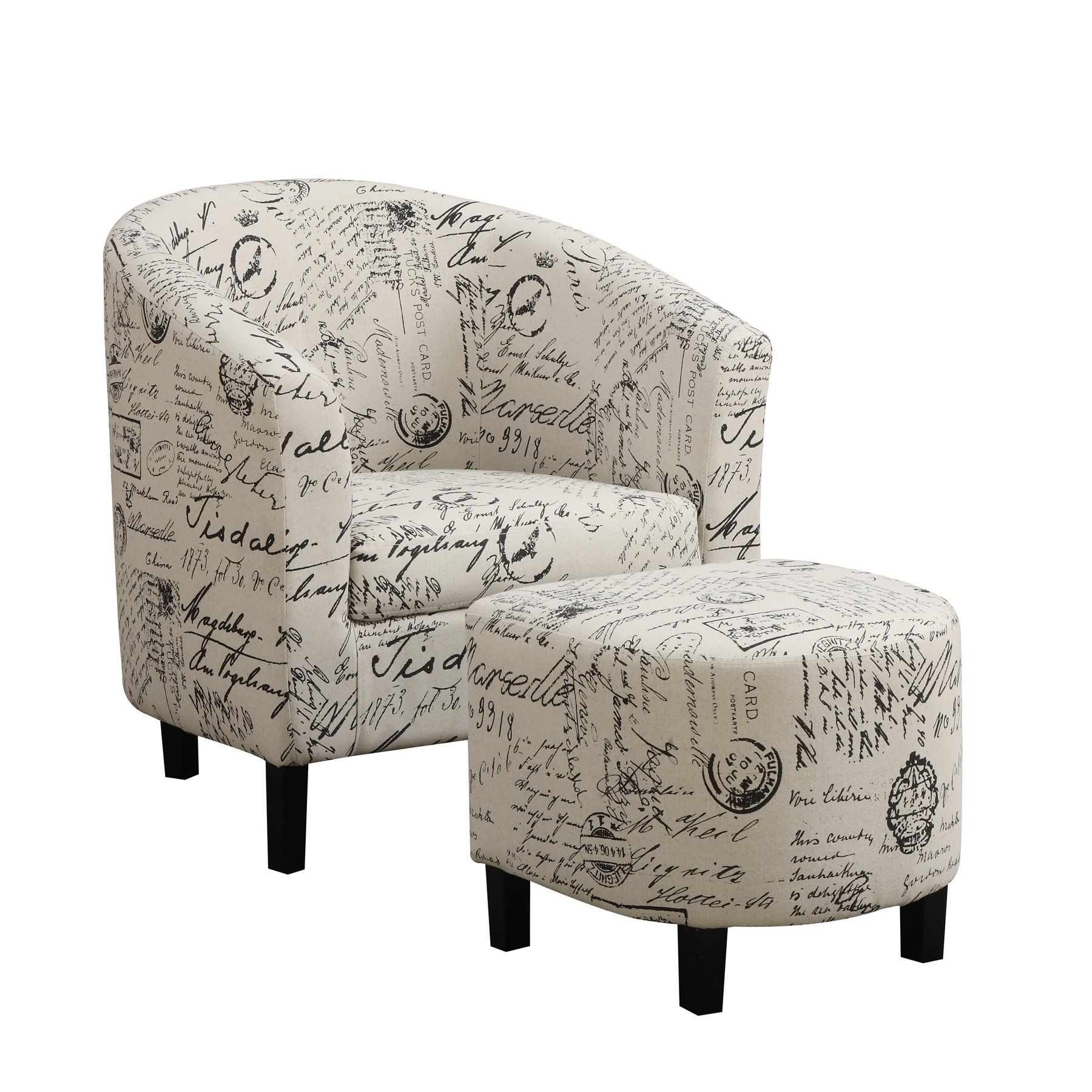 Emory Barrel Chair With Ottoman | Linen Accent Chairs For Louisiana Barrel Chair And Ottoman Sets (View 4 of 15)