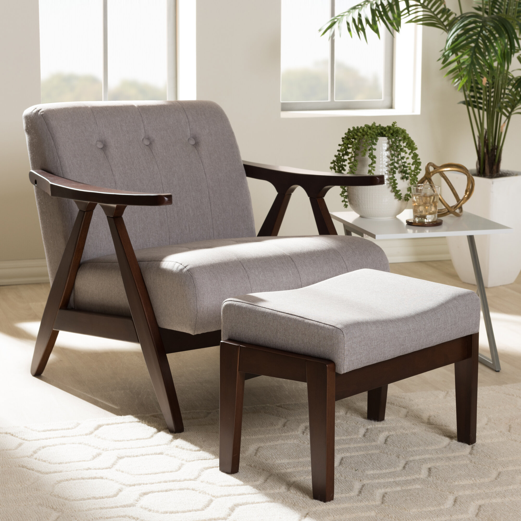 Enrico Lounge Chair And Ottoman With Regard To Artemi Barrel Chair And Ottoman Sets (View 8 of 15)