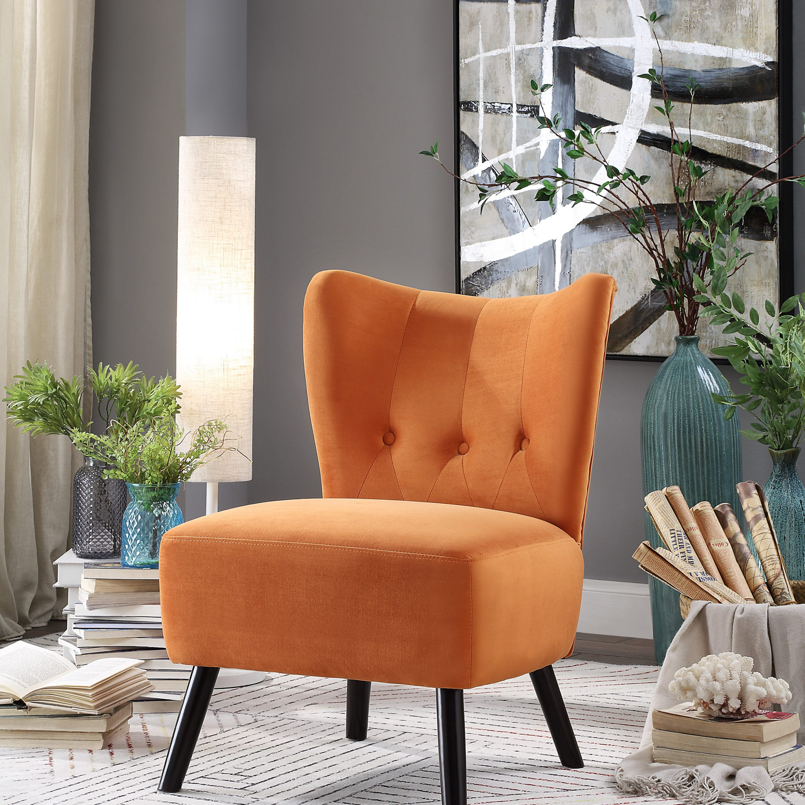 """Erasmus 30.5"""" W Velvet Side Chair (Set Of 2) With Easterling Velvet Slipper Chairs (Photo 4 of 15)"""