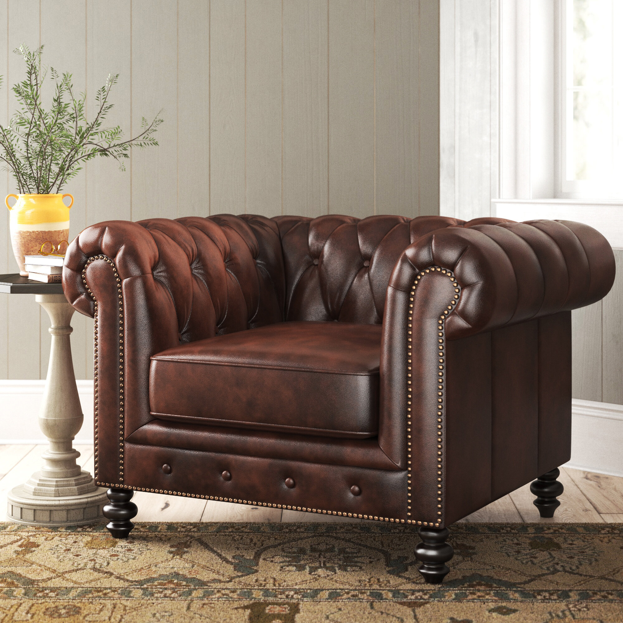 "Eufaula 44"" W Tufted Top Grain Leather Chesterfield Chair For Sheldon Tufted Top Grain Leather Club Chairs (View 3 of 15)"