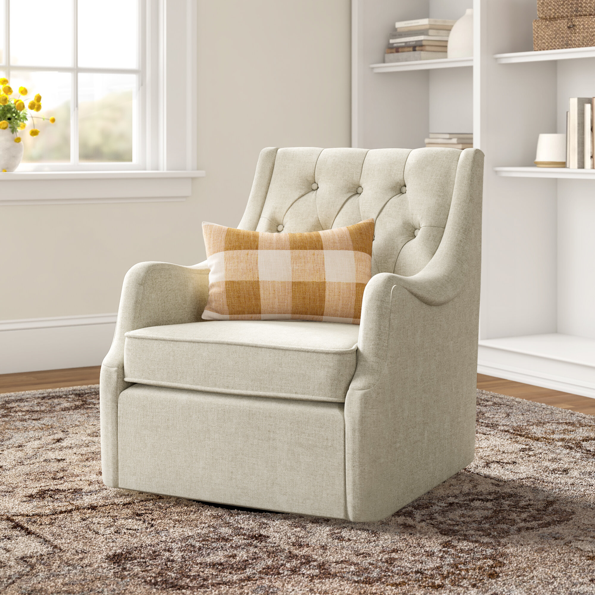 Fabric Swivel Accent Chairs You'Ll Love In 2021 | Wayfair Within Zalina Swivel Armchairs (View 11 of 15)