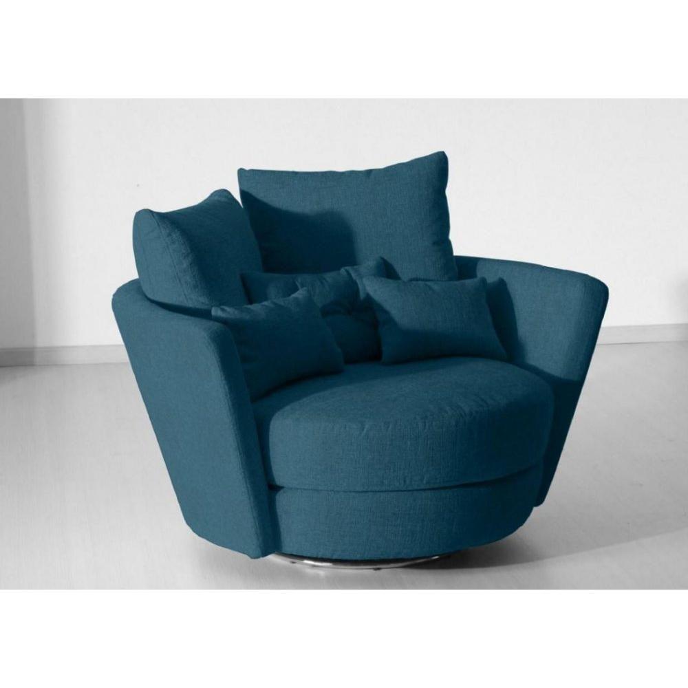 Fama Fauteuil Pivotant Design Mynest Bleu | Décoration Salon For Hutchinsen Polyester Blend Armchairs (View 11 of 15)