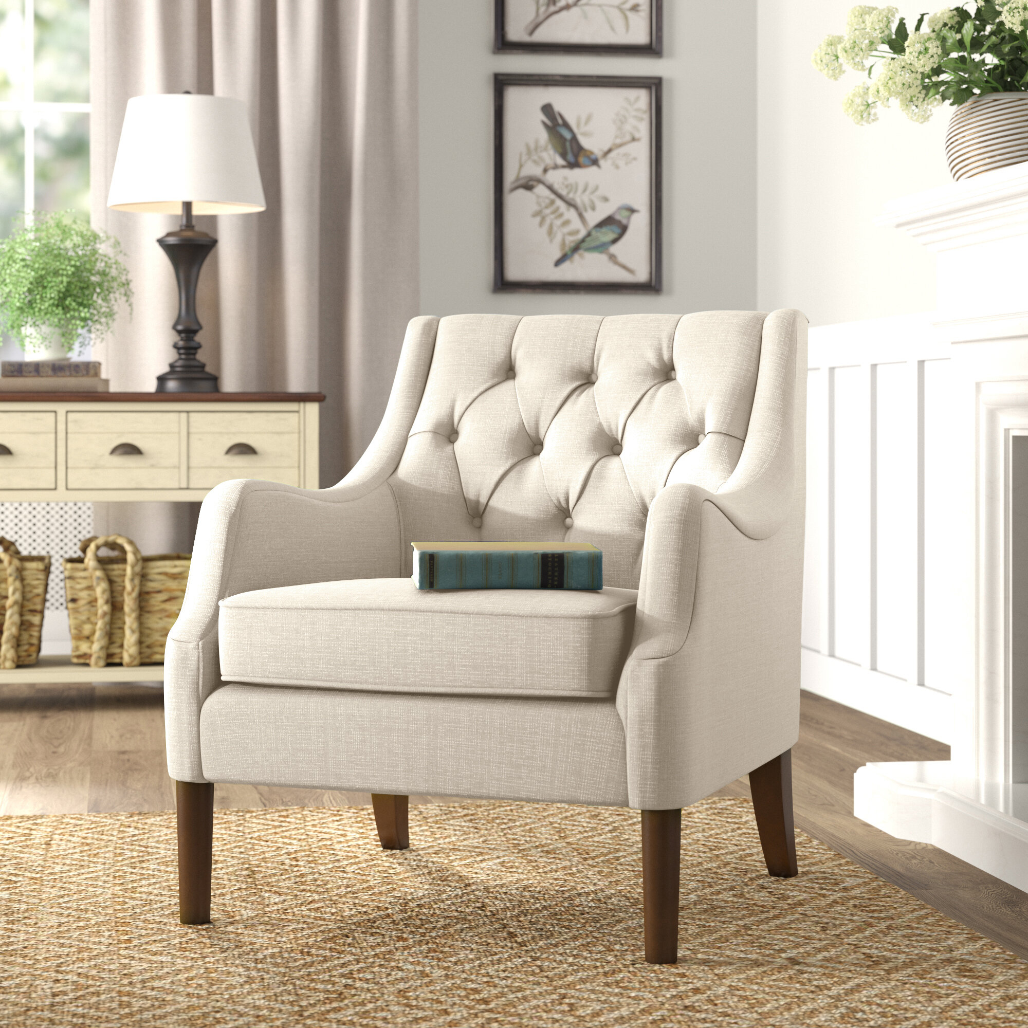 Farmhouse & Rustic Tufted Accent Chairs | Birch Lane For Cohutta Armchairs (View 12 of 15)