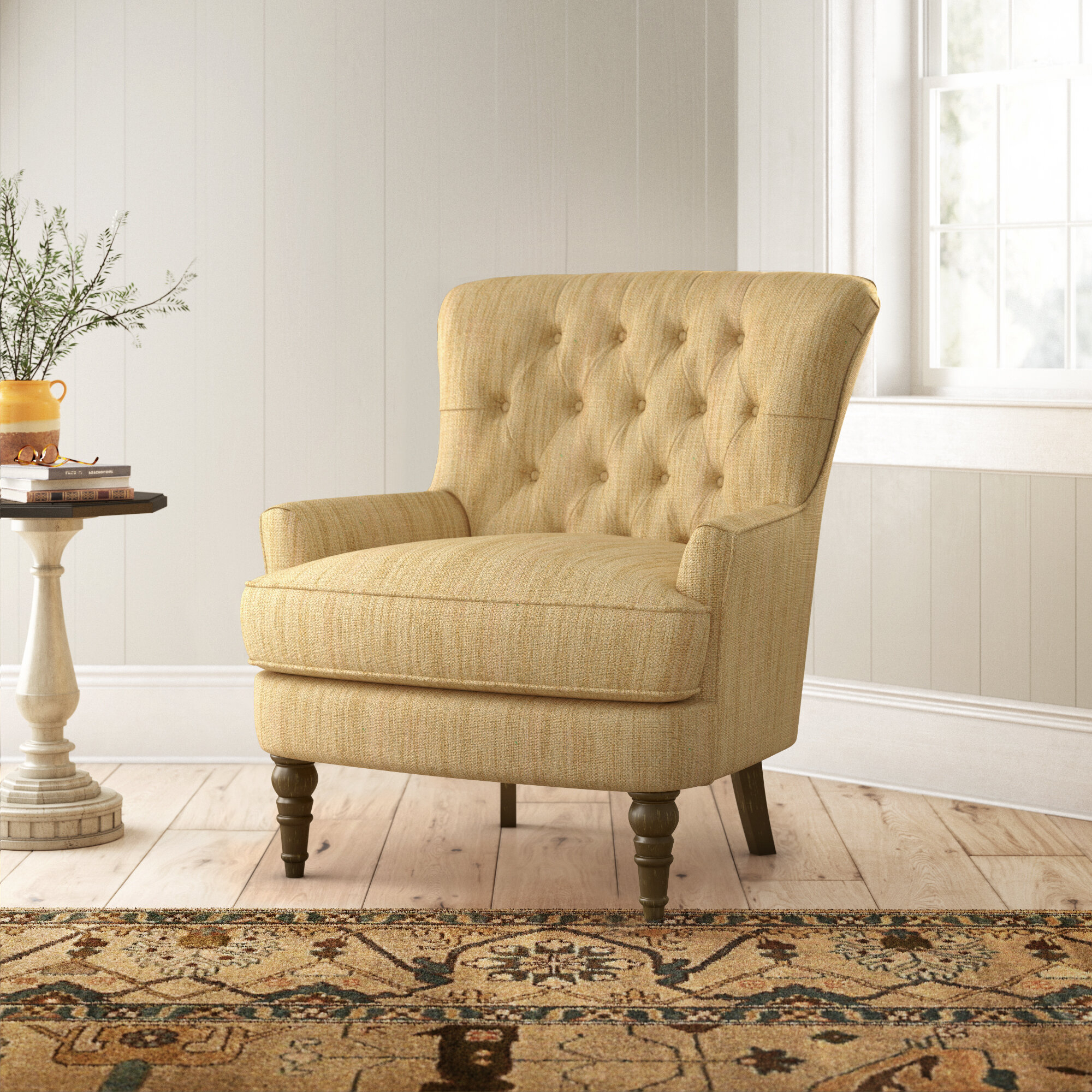 Farmhouse & Rustic Tufted Accent Chairs | Birch Lane For Galesville Tufted Polyester Wingback Chairs (View 10 of 15)