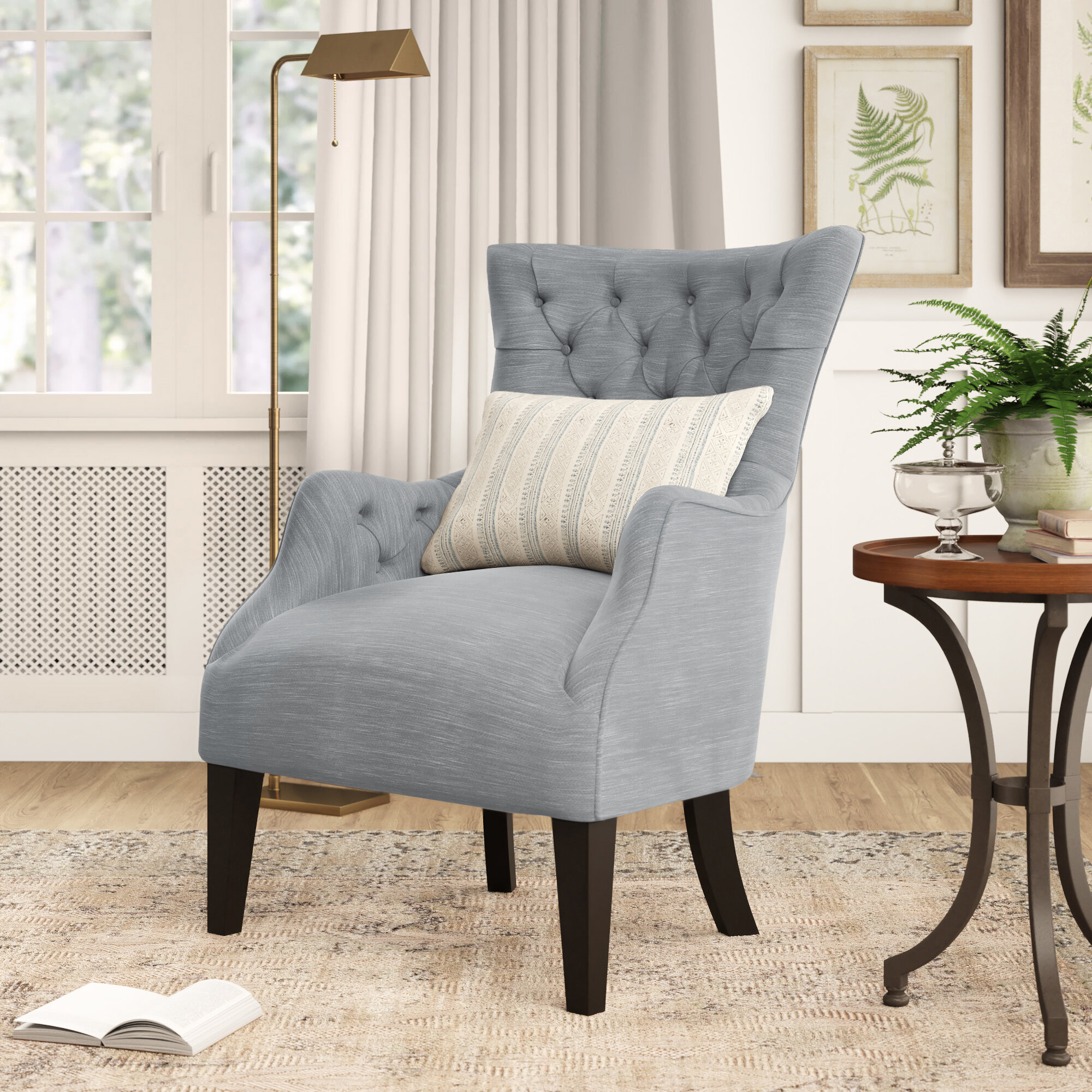 Farmhouse & Rustic Tufted Accent Chairs | Birch Lane With Galesville Tufted Polyester Wingback Chairs (View 4 of 15)