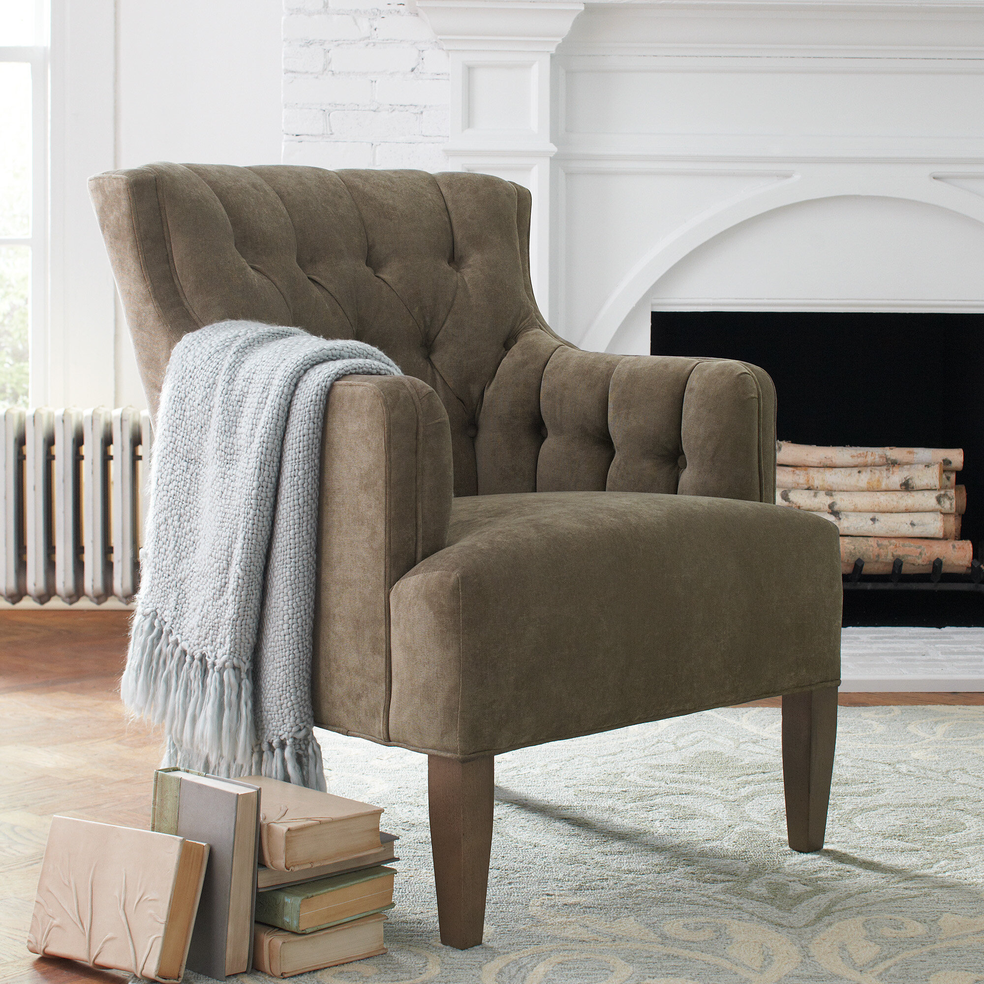 Farmhouse & Rustic Tufted Accent Chairs | Birch Lane With Regard To Cohutta Armchairs (View 10 of 15)