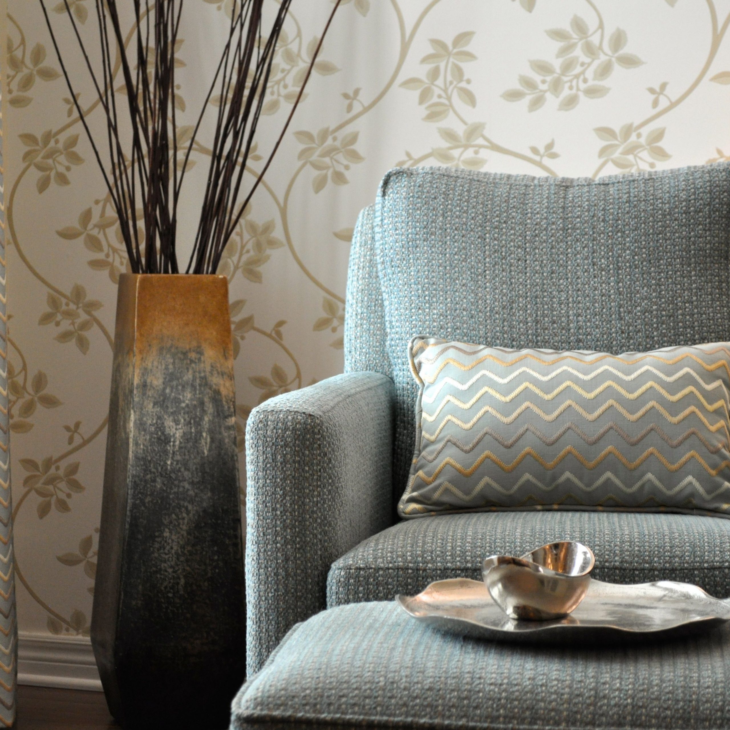 Farrow And Ball Ringwold Wallpaper In A Living Room We Throughout Ringwold Armchairs (View 3 of 15)