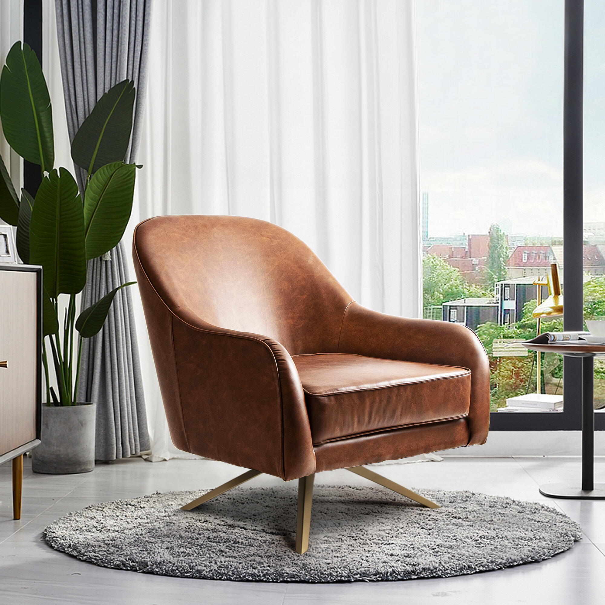 Faux Leather Removable Cushions Small Accent Chairs You'Ll In Hazley Faux Leather Swivel Barrel Chairs (View 7 of 15)