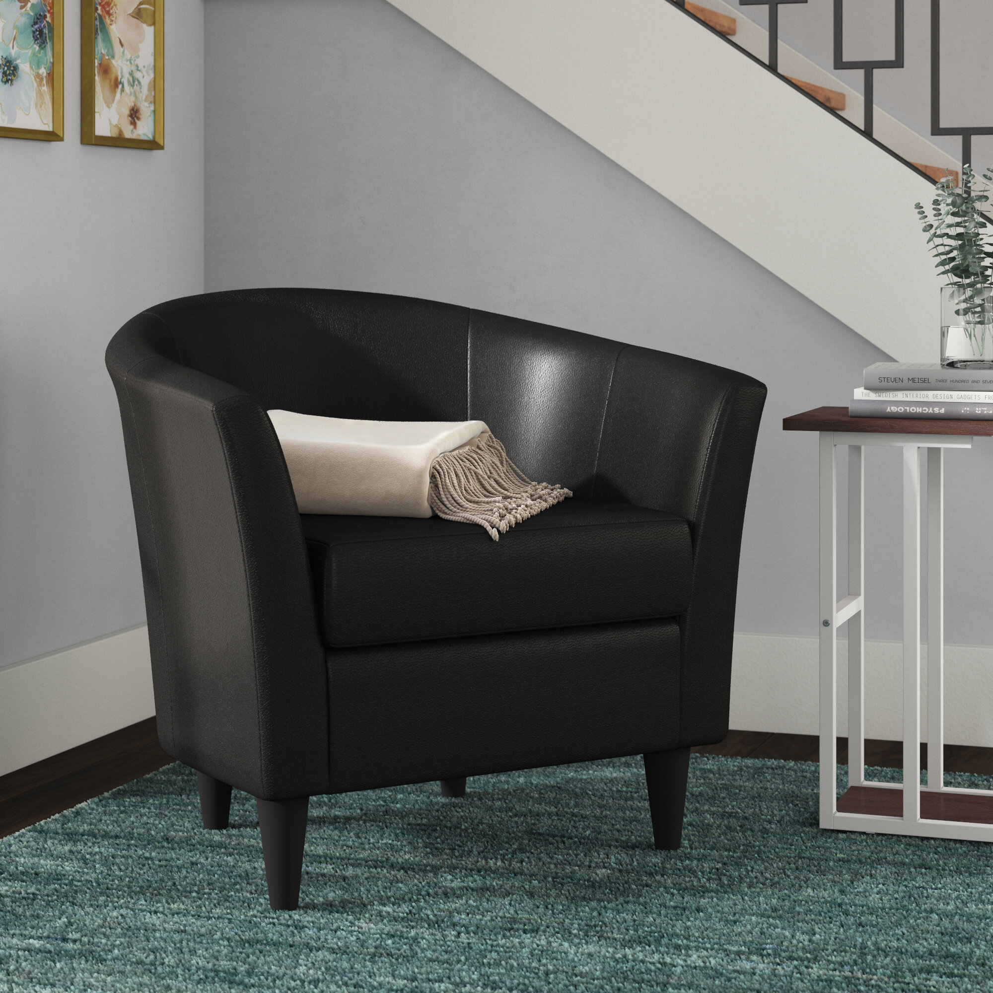 Faux Leather White Small Accent Chairs You'Ll Love In 2021 Throughout Gilad Faux Leather Barrel Chairs (View 9 of 15)