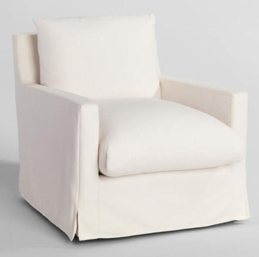 Feather Filled Swivel Brynn Armchair In Ivory – World Market/Cost Plus Throughout Molinari Swivel Barrel Chairs (View 7 of 15)