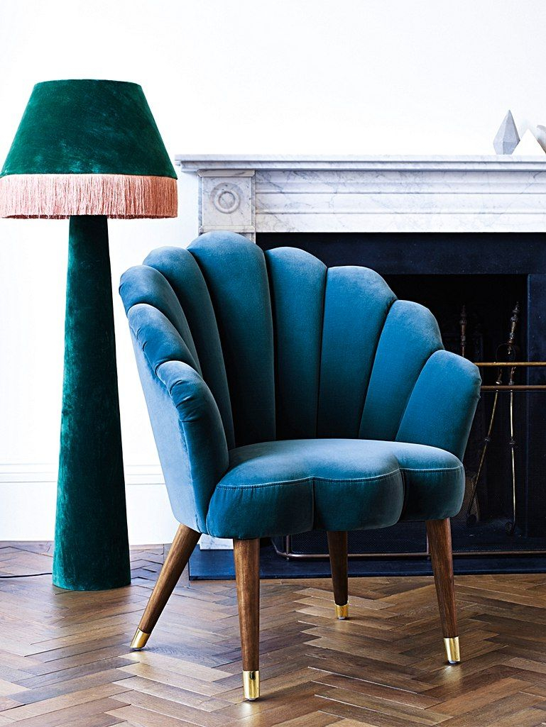 Flora Scalloped Azure Blue Velvet Armchair | Blue Velvet With Regard To Hutchinsen Polyester Blend Armchairs (View 13 of 15)