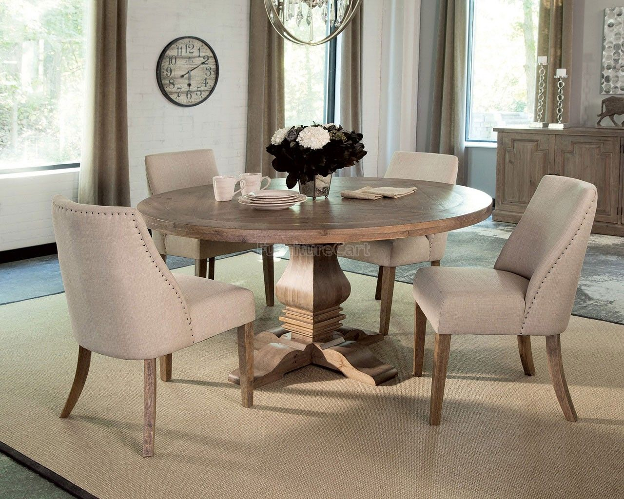 Florence+Round+Dining+Set+W/+Beige+Chairs | Round Dining Regarding Aime Upholstered Parsons Chairs In Beige (View 15 of 15)
