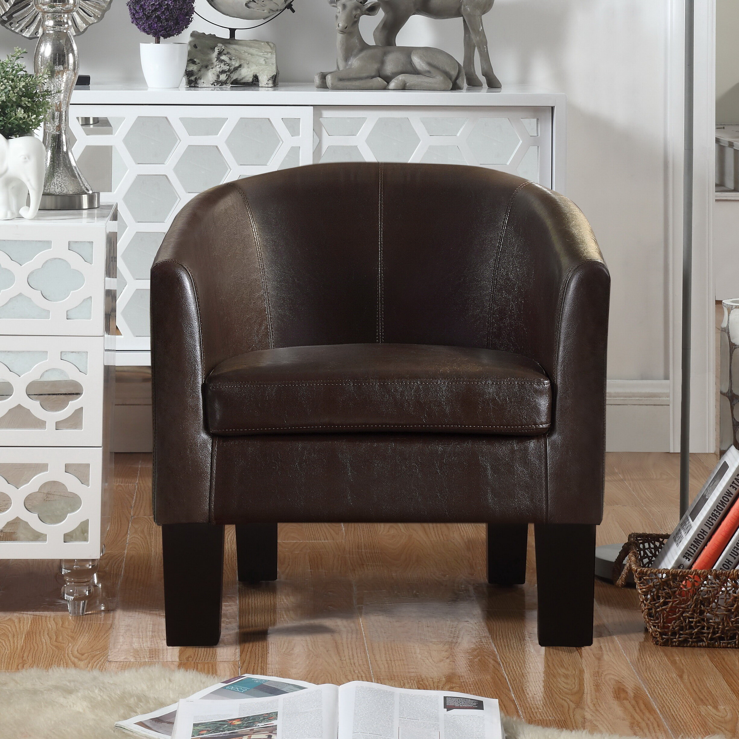 """Franky 26"""" W Faux Leather Barrel Chair For Lucea Faux Leather Barrel Chairs And Ottoman (View 3 of 15)"""