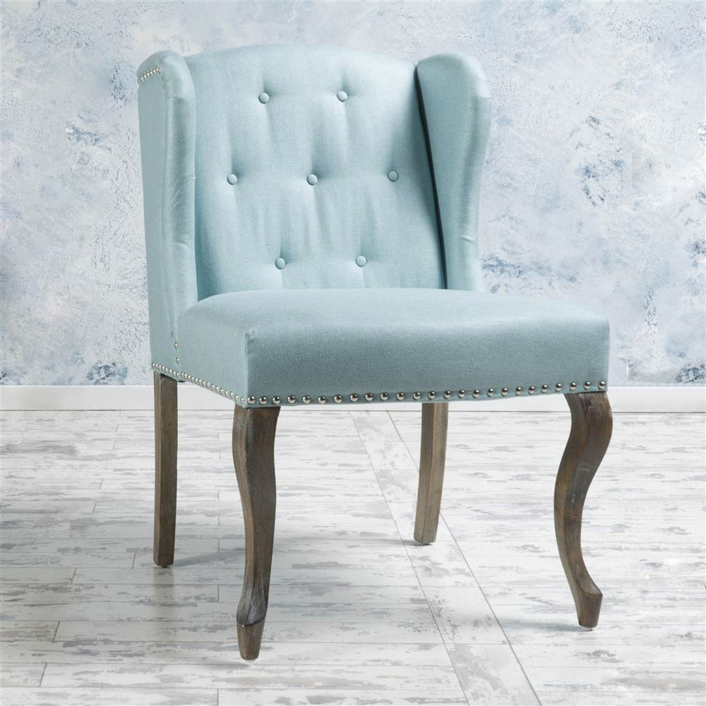 French Design Wingback Chair In Light Blue – Brickseek Throughout Nestor Wingback Chairs (View 14 of 15)