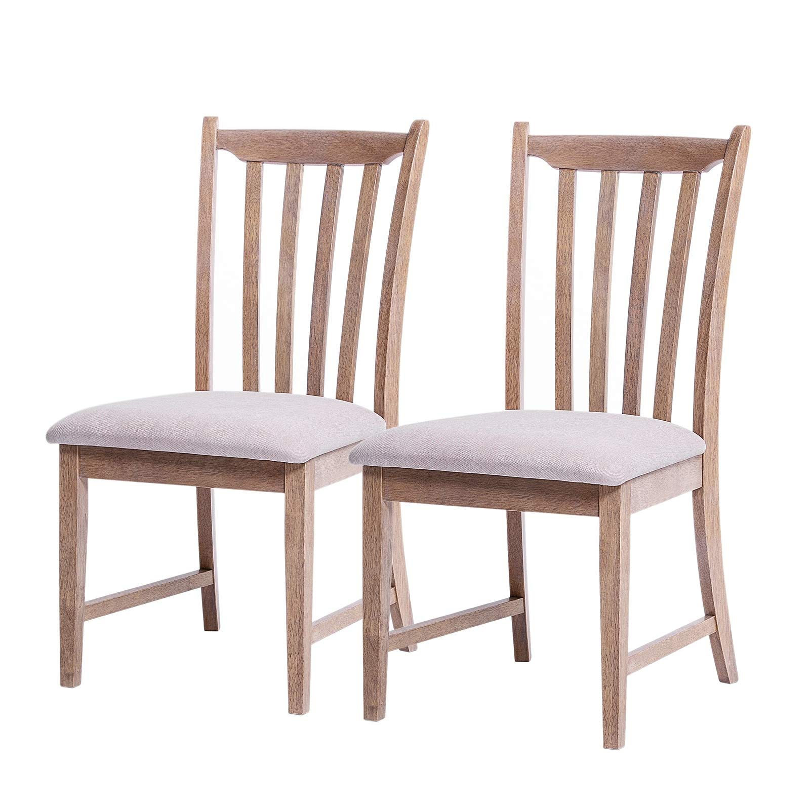 Furgle Set Of 2 Dining Side Chair Oak Wood Modern Kitchen Dining Chair With Vertical Slatted Back And Upholstered Seat Covered Microfiber Cushion Intended For Bob Stripe Upholstered Dining Chairs (Set Of 2) (View 5 of 15)