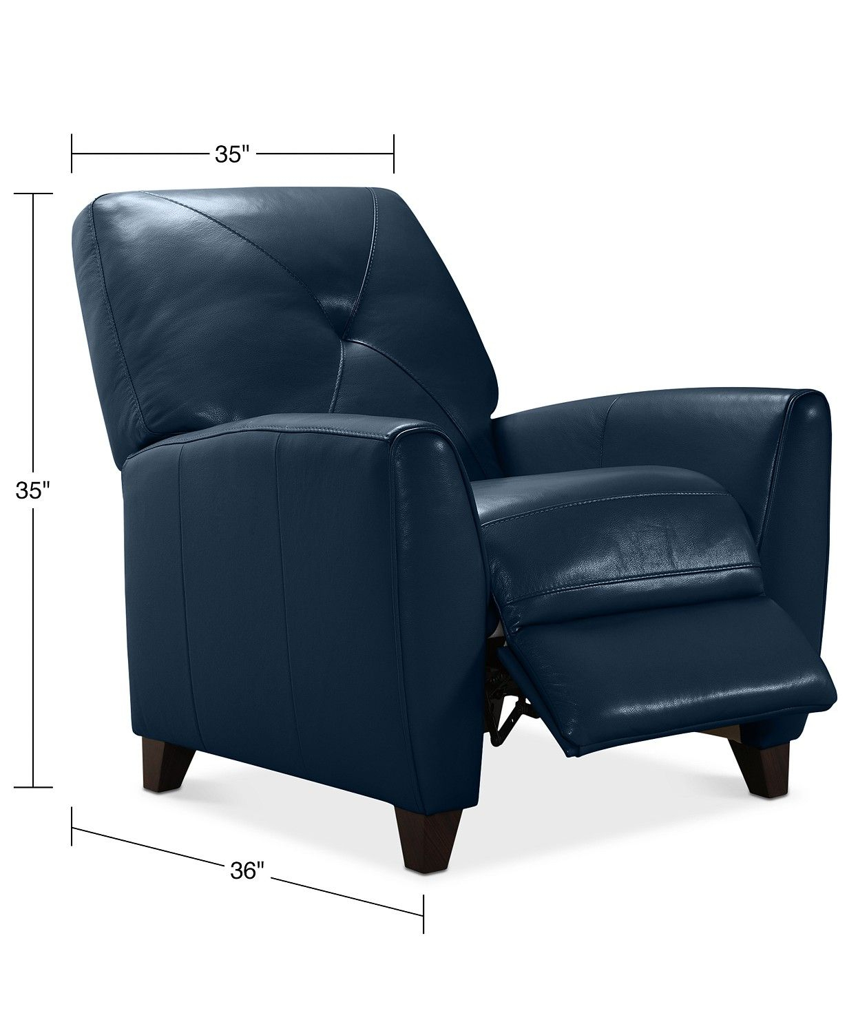 Furniture Myia Leather Pushback Recliner, Created For Macy'S For Myia Armchairs (View 14 of 15)