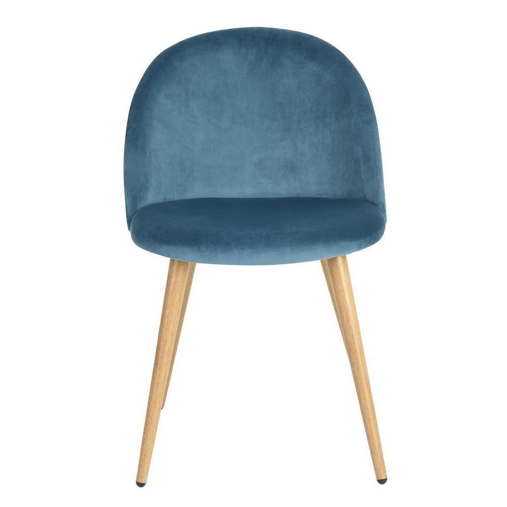 Furniturer Zomba Blue Velvet Dining Chair (Set Of 2) Zomba Regarding Erasmus Velvet Side Chairs (Set Of 2) (View 9 of 15)