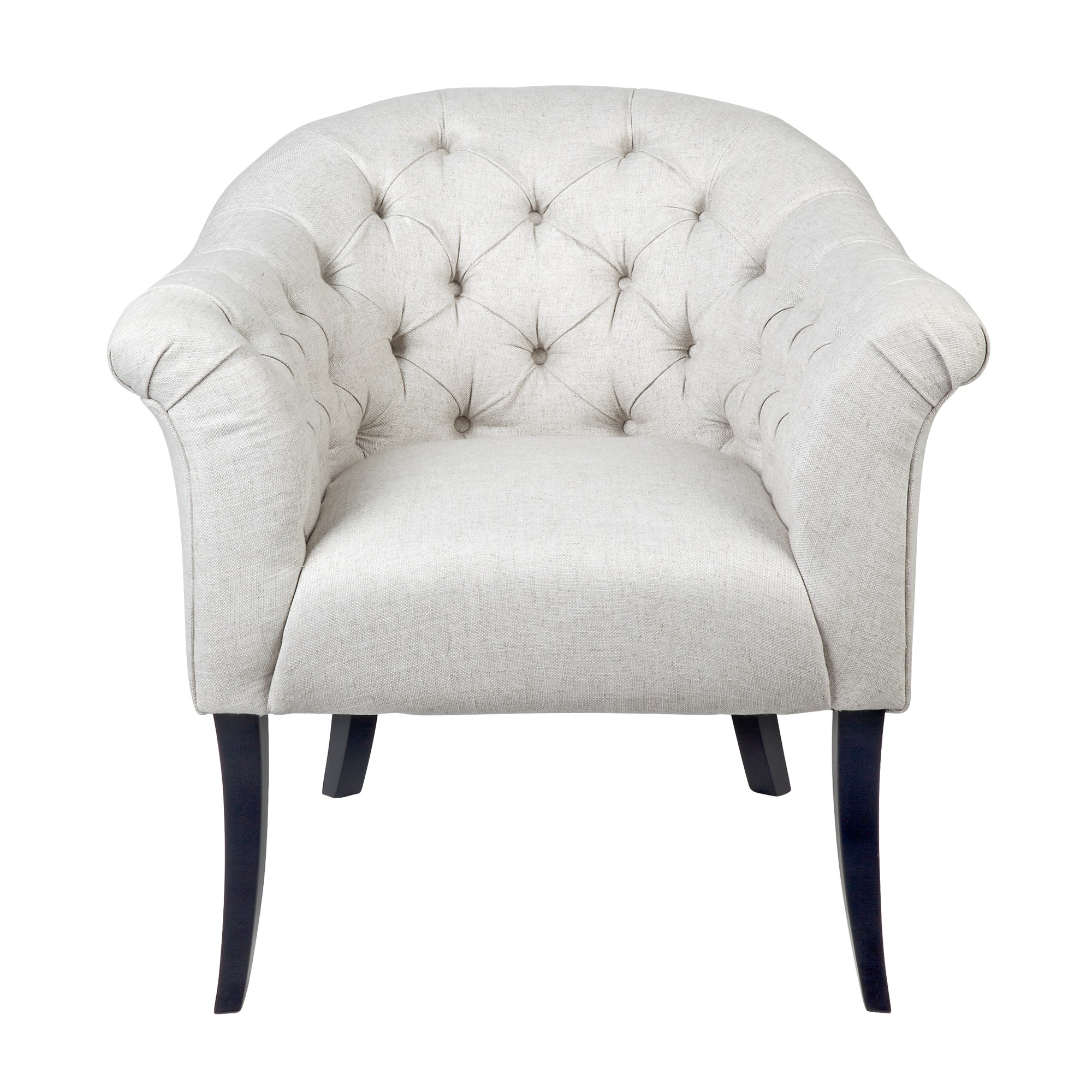 Georgina Tufted Fabric Armchair, Oatmeal Throughout Georgina Armchairs (Set Of 2) (View 3 of 15)