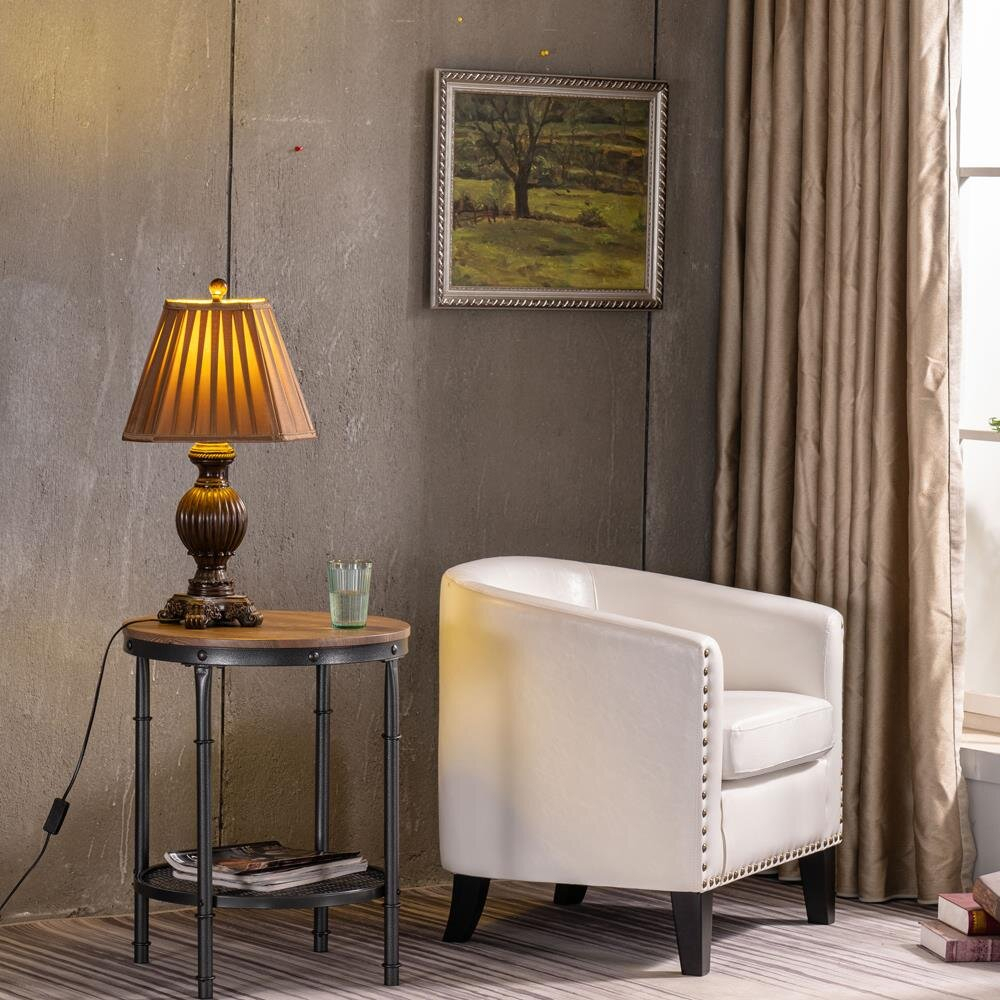 Featured Image of Gilad Faux Leather Barrel Chairs