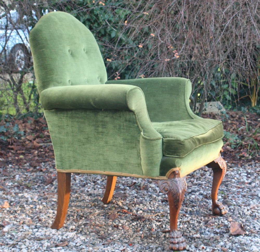 Good Georgian Style Walnut Upholstered Suite, Circa 1910 Within Reynolds Armchairs (View 6 of 15)