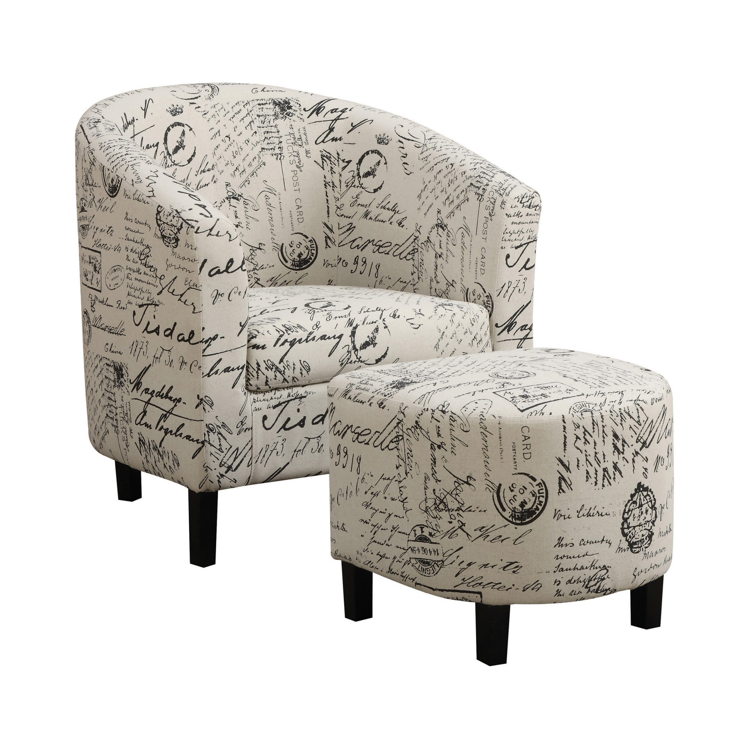Goodale French Script Barrel Chair And Ottoman Regarding Briseno Barrel Chairs (View 10 of 15)