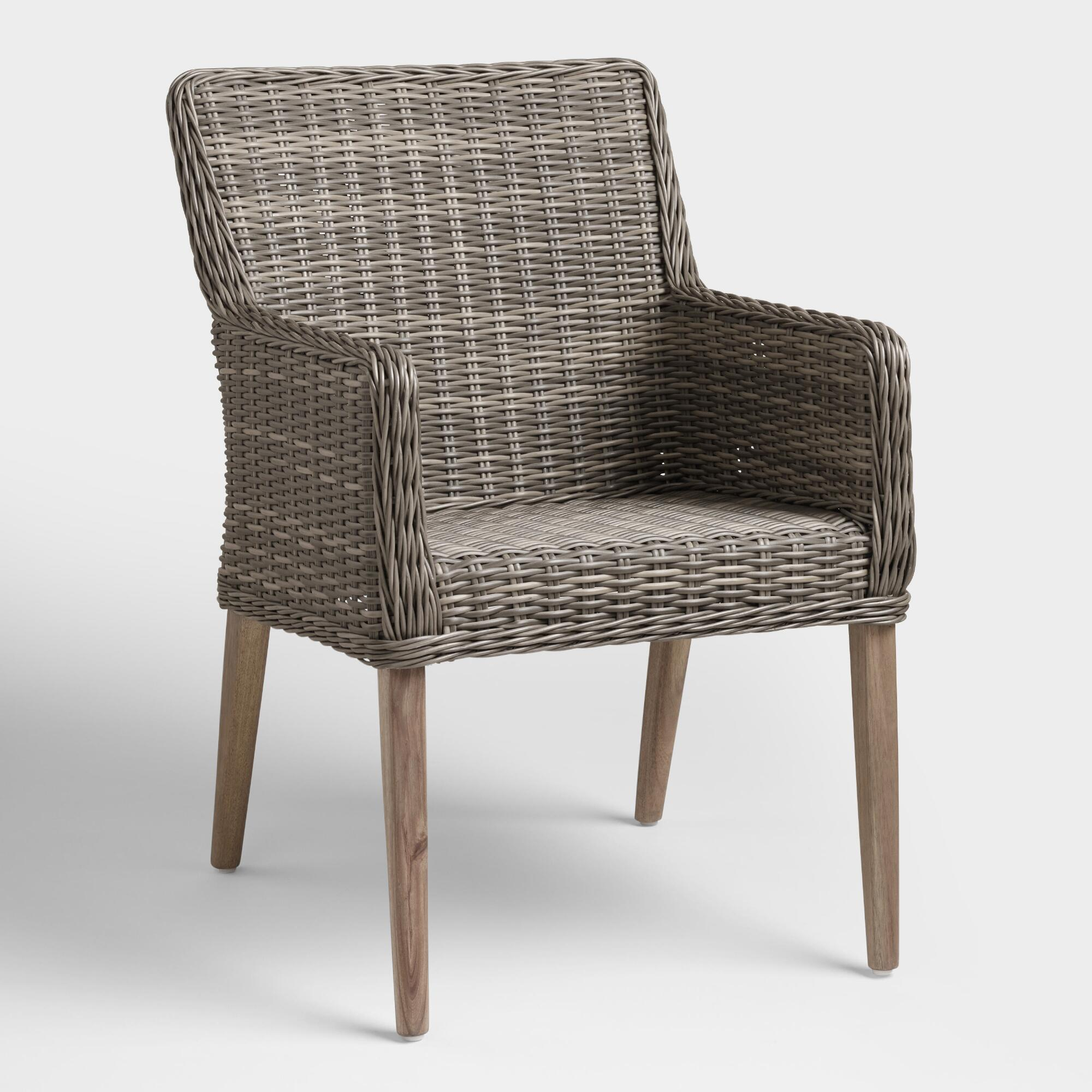 Gray All Weather Wicker Borgia Outdoor Patio Dining Chair – Resinworld Market With Regard To Daleyza Slipper Chairs (View 10 of 15)