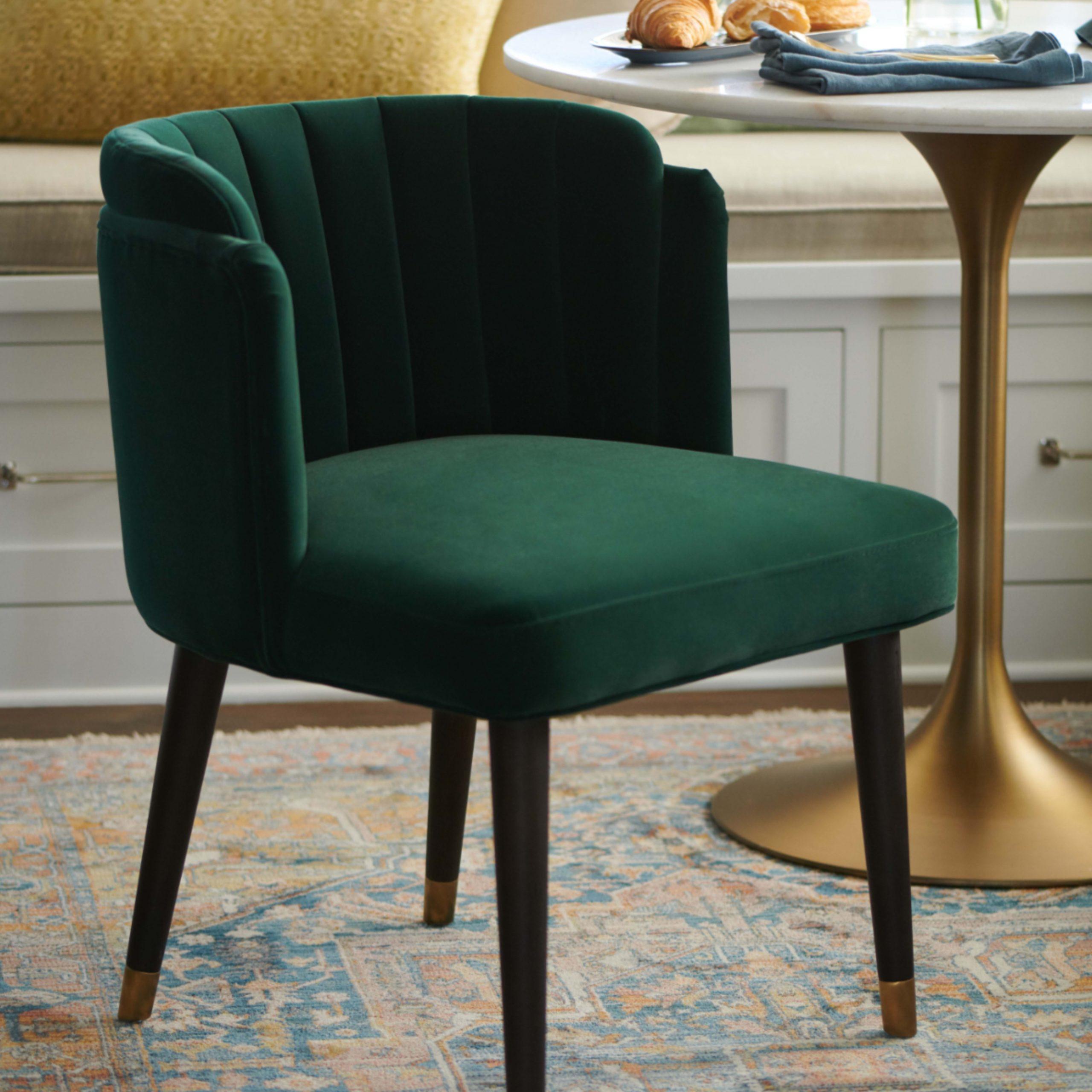 Green Velvet Channel Back Isadora Dining Chair | Velvet Intended For Hanner Polyester Armchairs (View 5 of 15)