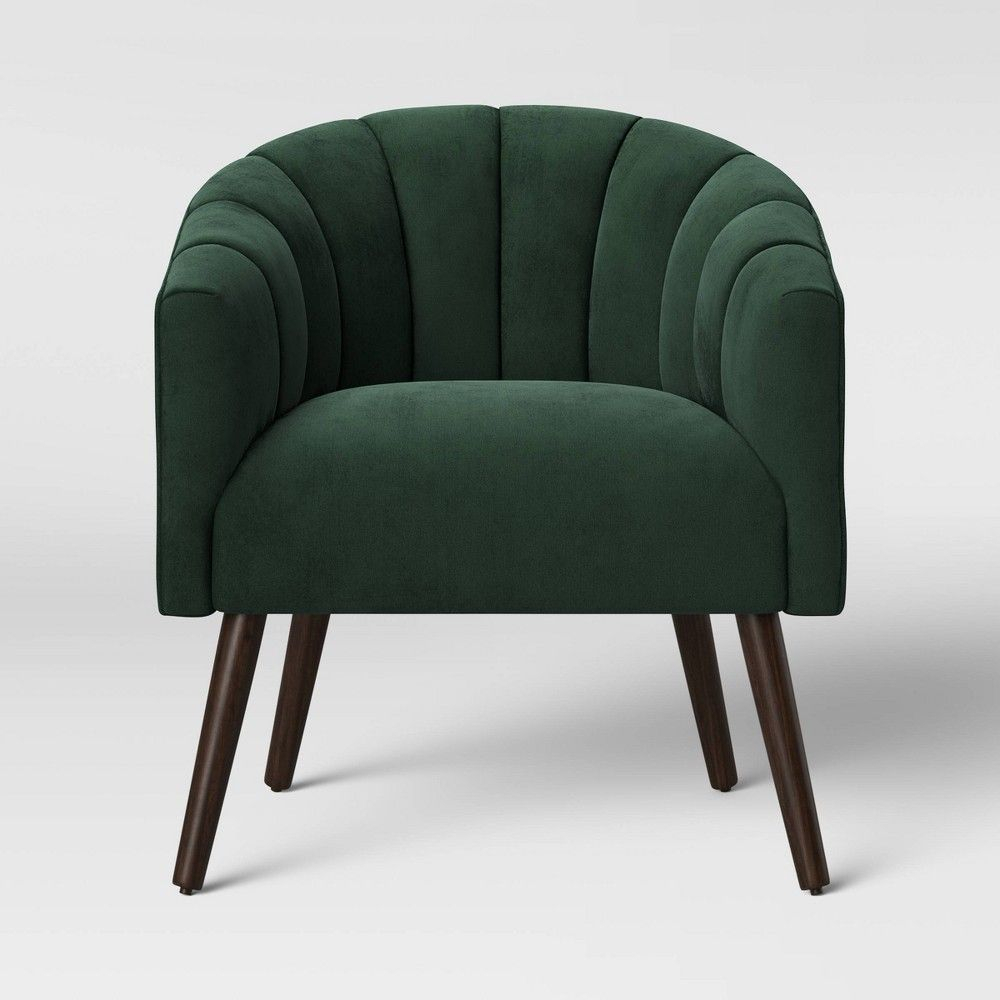 Gwynne Modern Barrel Chair With Channel Seams Velvet Forest Within Indianola Modern Barrel Chairs (View 5 of 15)