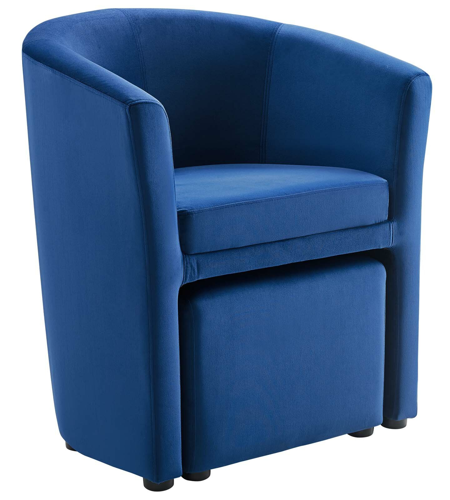 Hallsville Performance Velvet Armchair And Ottoman With Regard To Hallsville Performance Velvet Armchairs And Ottoman (View 2 of 15)