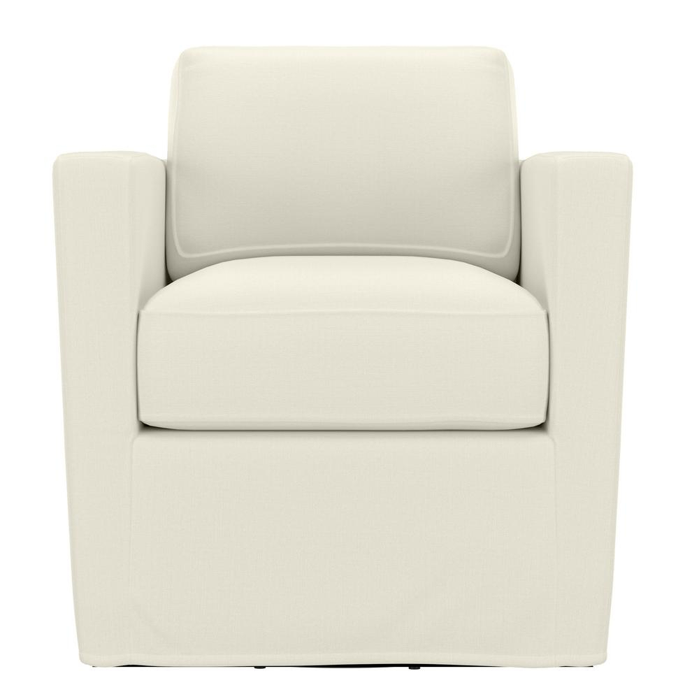 Handy Living Anastasia Creamy White Brushed Velvet Swivel Club Chair – Home Depot Intended For Molinari Swivel Barrel Chairs (View 10 of 15)