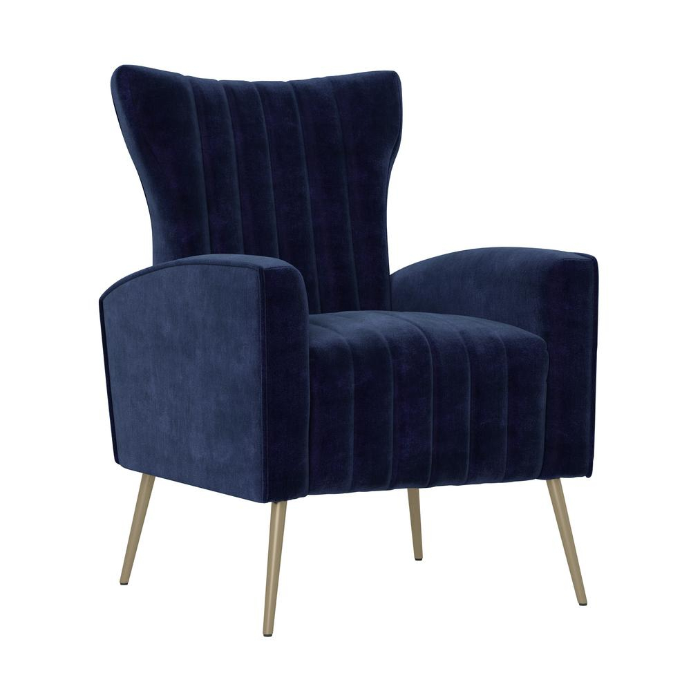 Handy Living Strauss Channel Tufted Armchair In Navy Blue Velvet – Home Depot Pertaining To Nestor Wingback Chairs (View 15 of 15)