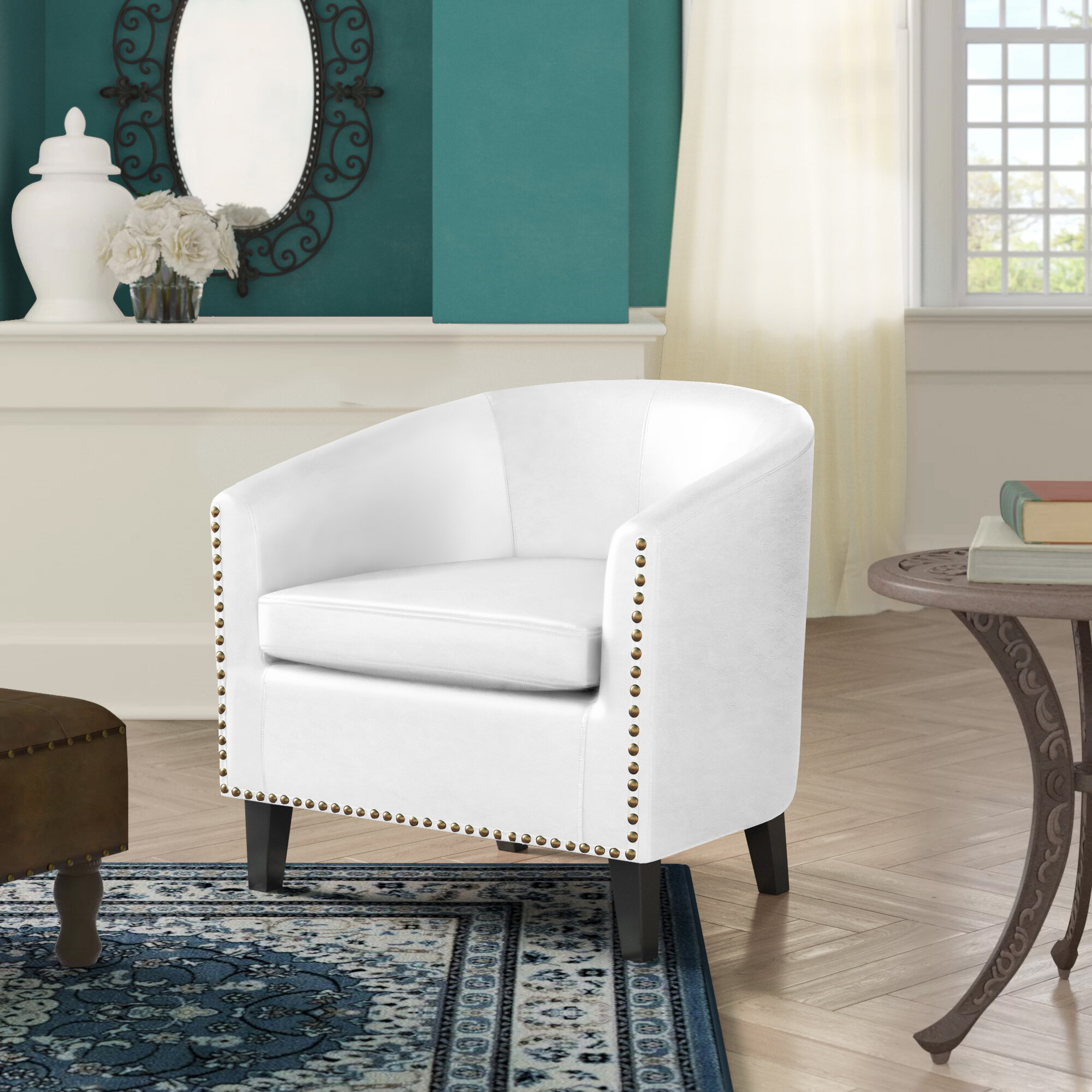 Harmon Cloud Barrel Chair And Ottoman Throughout Munson Linen Barrel Chairs (View 5 of 15)