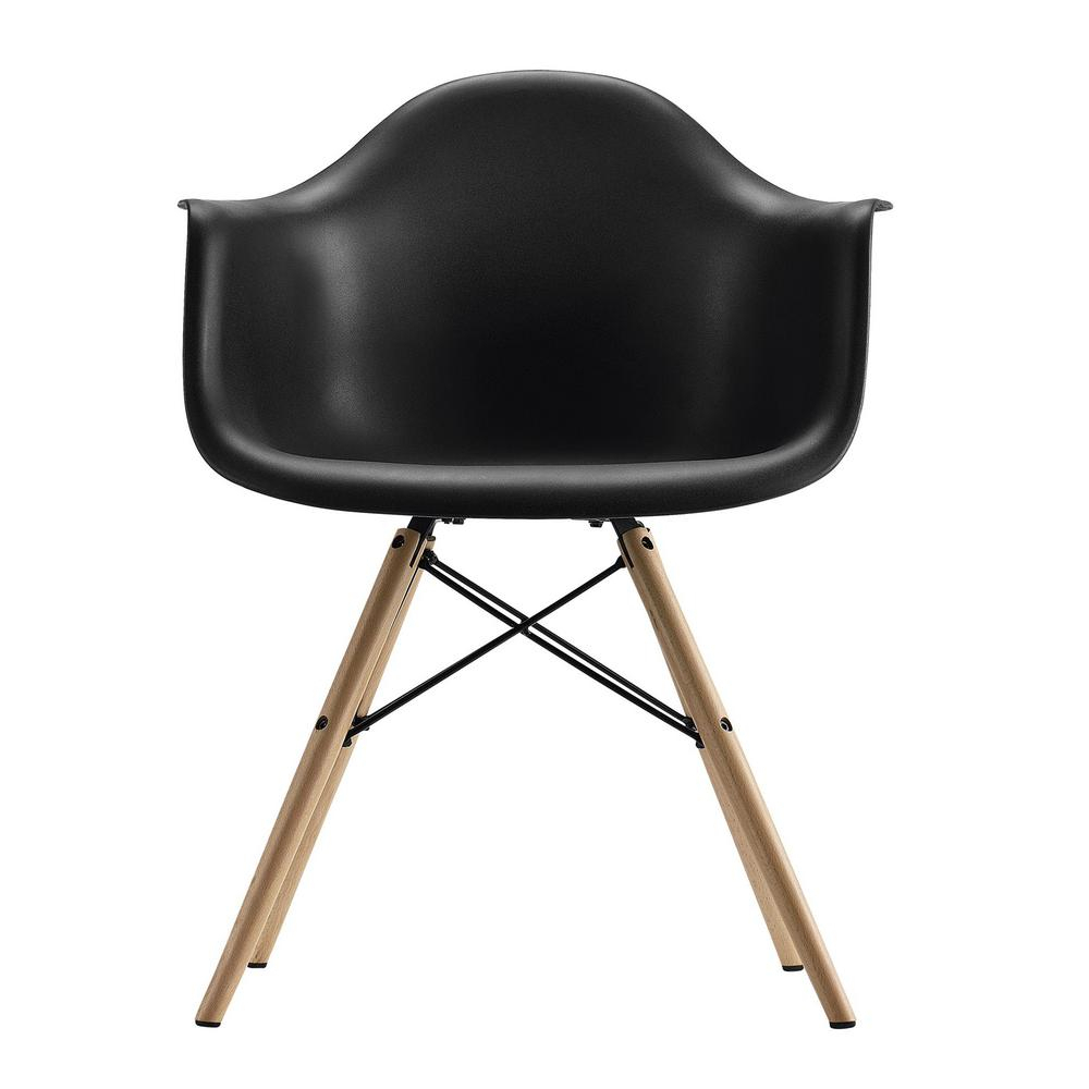 Harper Black Mid Century Modern Molded Arm Chair With Wood Leg – Home Depot Pertaining To Harland Modern Armless Slipper Chairs (View 15 of 15)