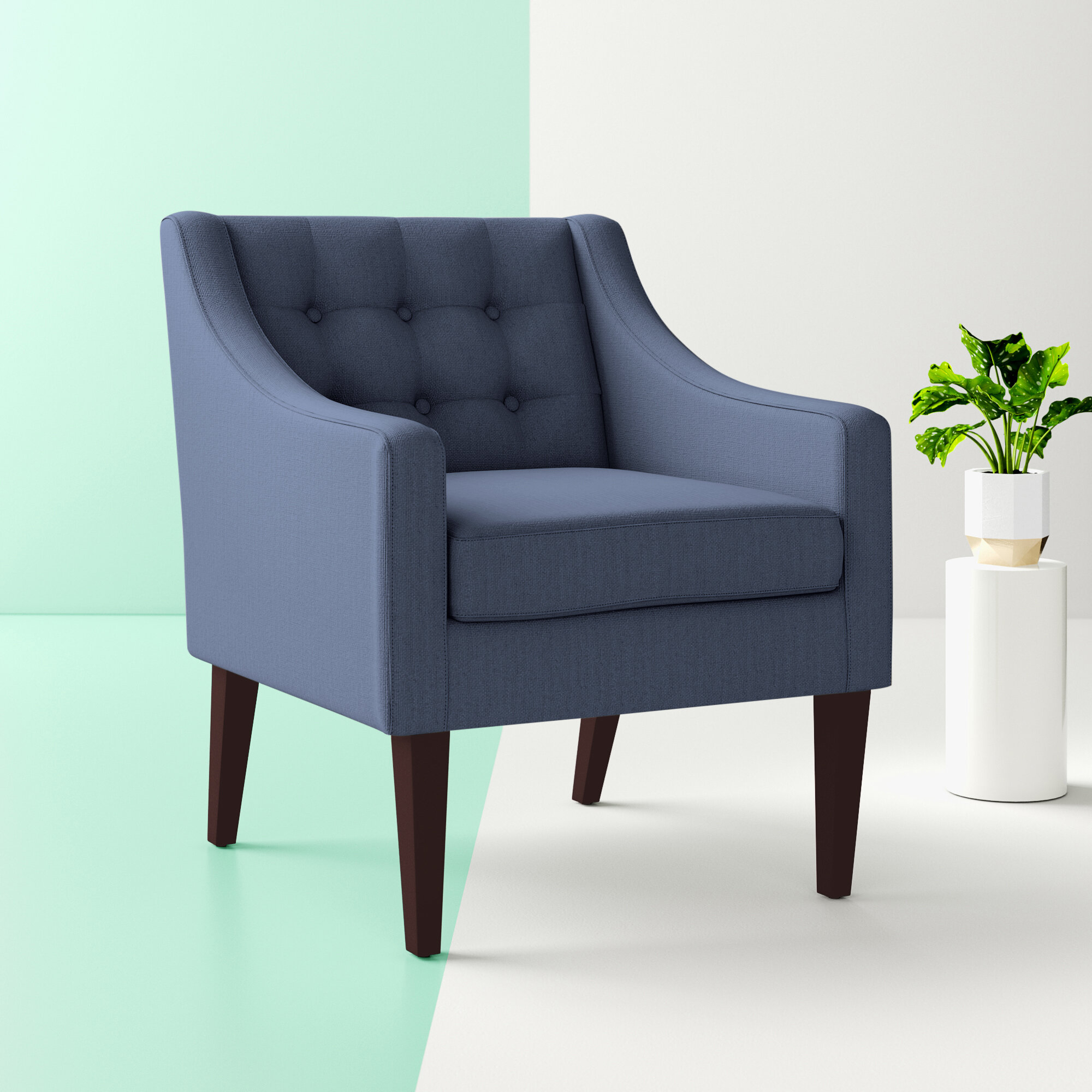 """Hashtag Home Clopton 26"""" W Tufted Polyester Armchair Throughout Leia Polyester Armchairs (View 3 of 15)"""