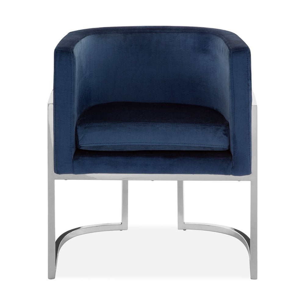 Haus Living Jayde Lounge Chair, Velvet Upholstered, Blue And Silver Pertaining To Jayde Armchairs (View 4 of 15)