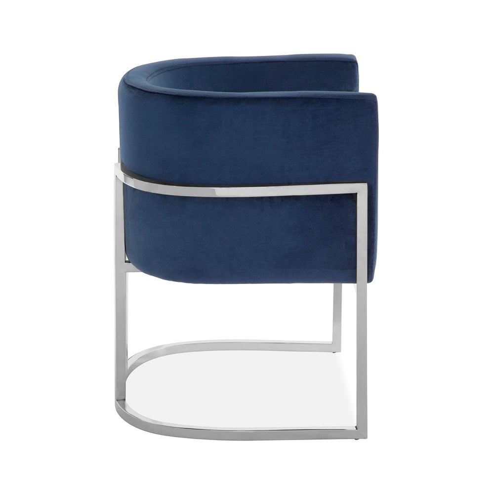 Haus Living Jayde Lounge Chair, Velvet Upholstered, Blue And Silver Throughout Jayde Armchairs (View 10 of 15)