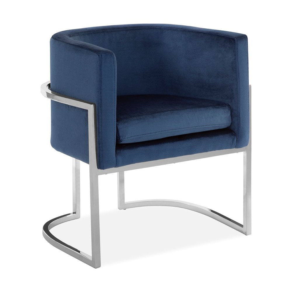 Haus Living Jayde Lounge Chair, Velvet Upholstered, Blue And Silver With Jayde Armchairs (View 2 of 15)