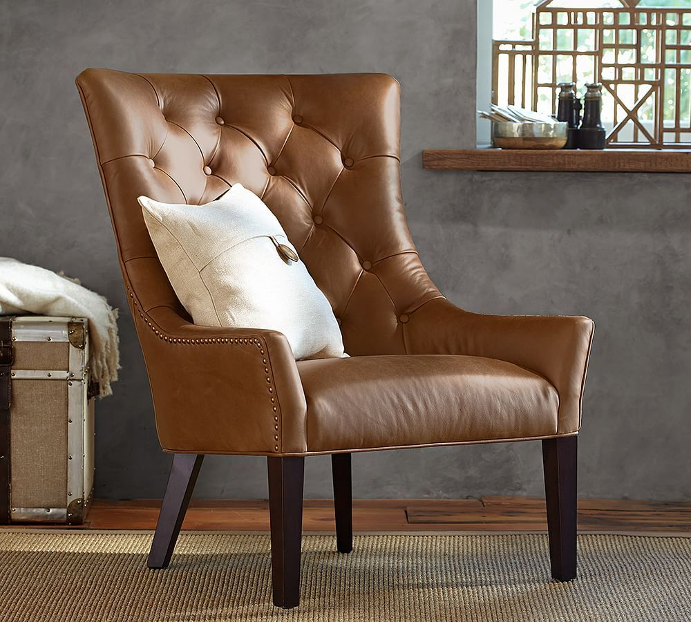 Hayes Leather Armchair With Bronze Nailheads, Polyester In Marisa Faux Leather Wingback Chairs (View 14 of 15)