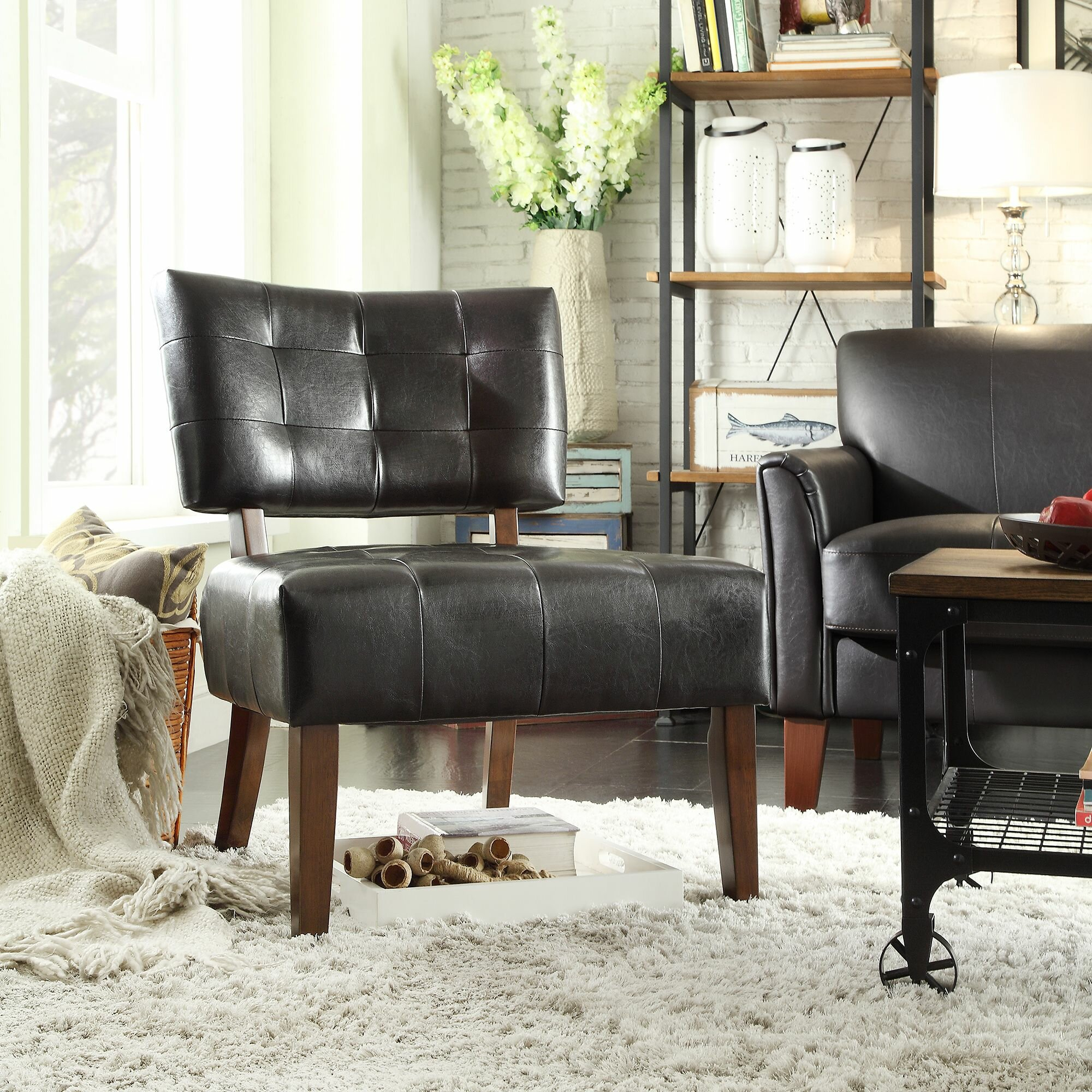 Heslington Faux Leather Side Chair Pertaining To Perz Tufted Faux Leather Convertible Chairs (View 10 of 15)